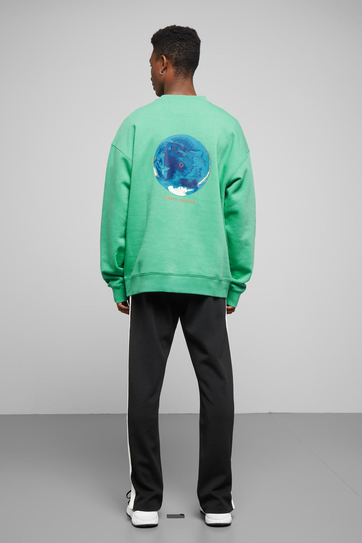 Model front image of Weekday big steve nemo sweatshirt in green