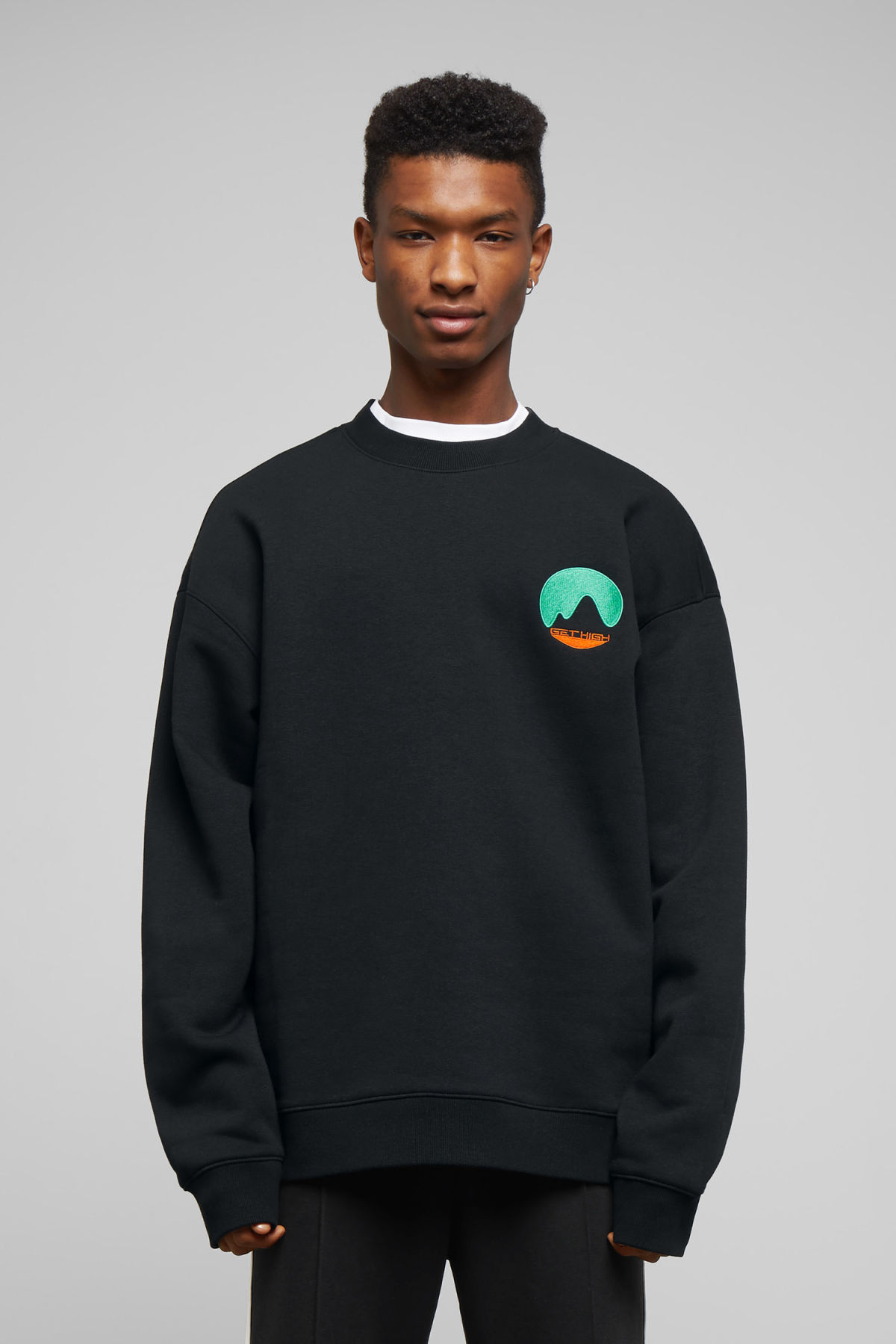 Model front image of Weekday big steve get high sweatshirt in black