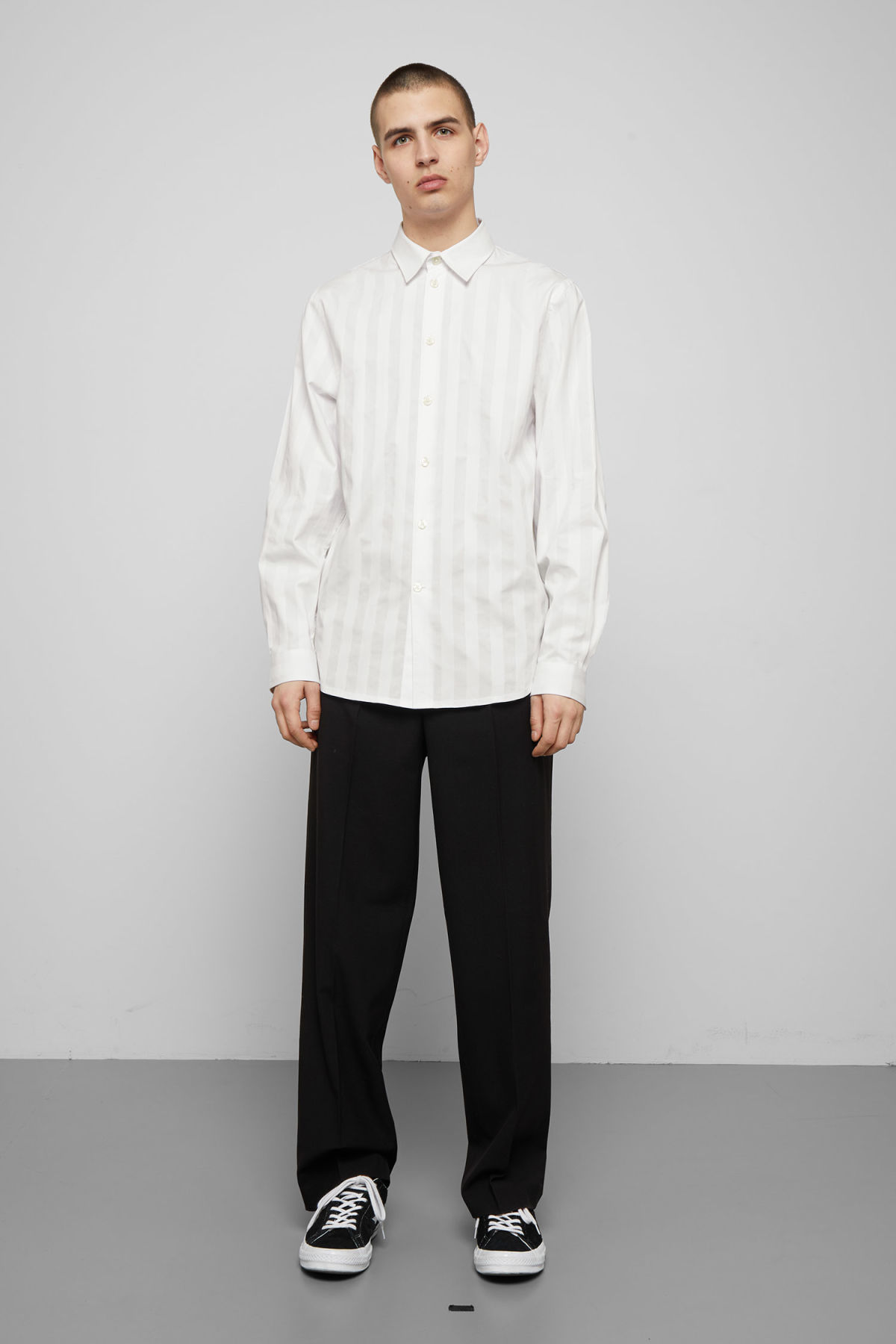 Model side image of Weekday miguel shirt in white