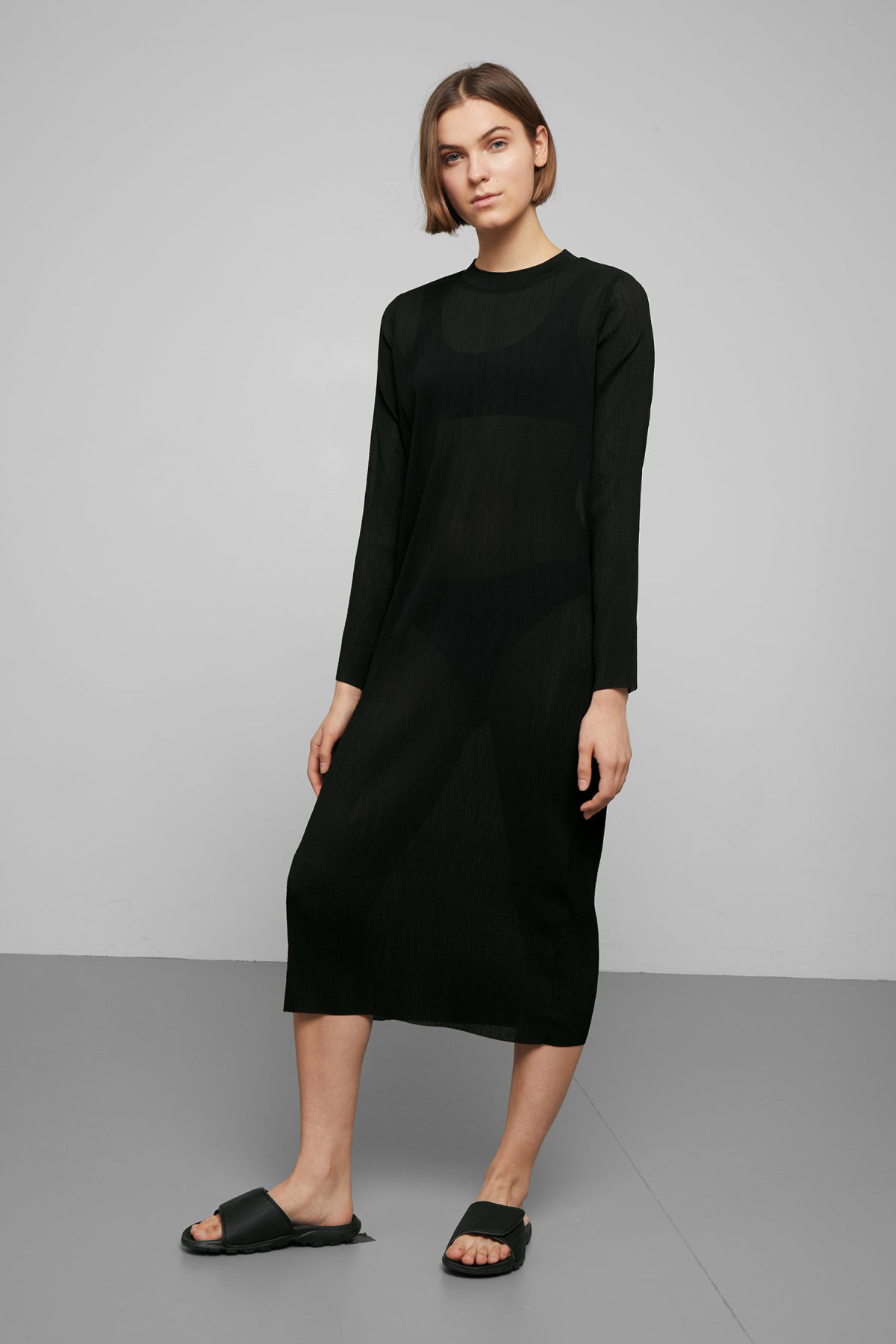 Model front image of Weekday waverly pleated dress in black