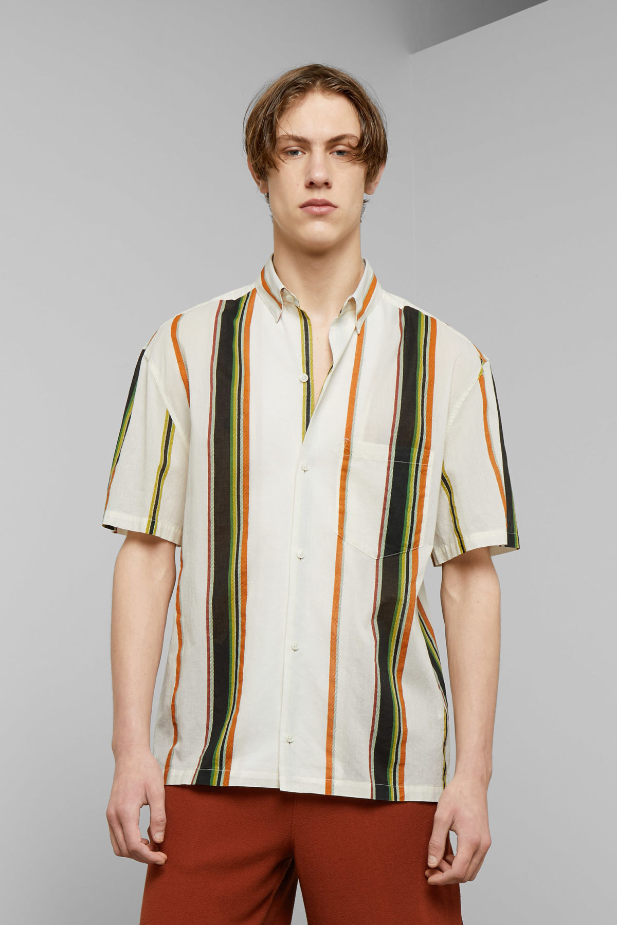 Model front image of Weekday mack stripe shirt in white