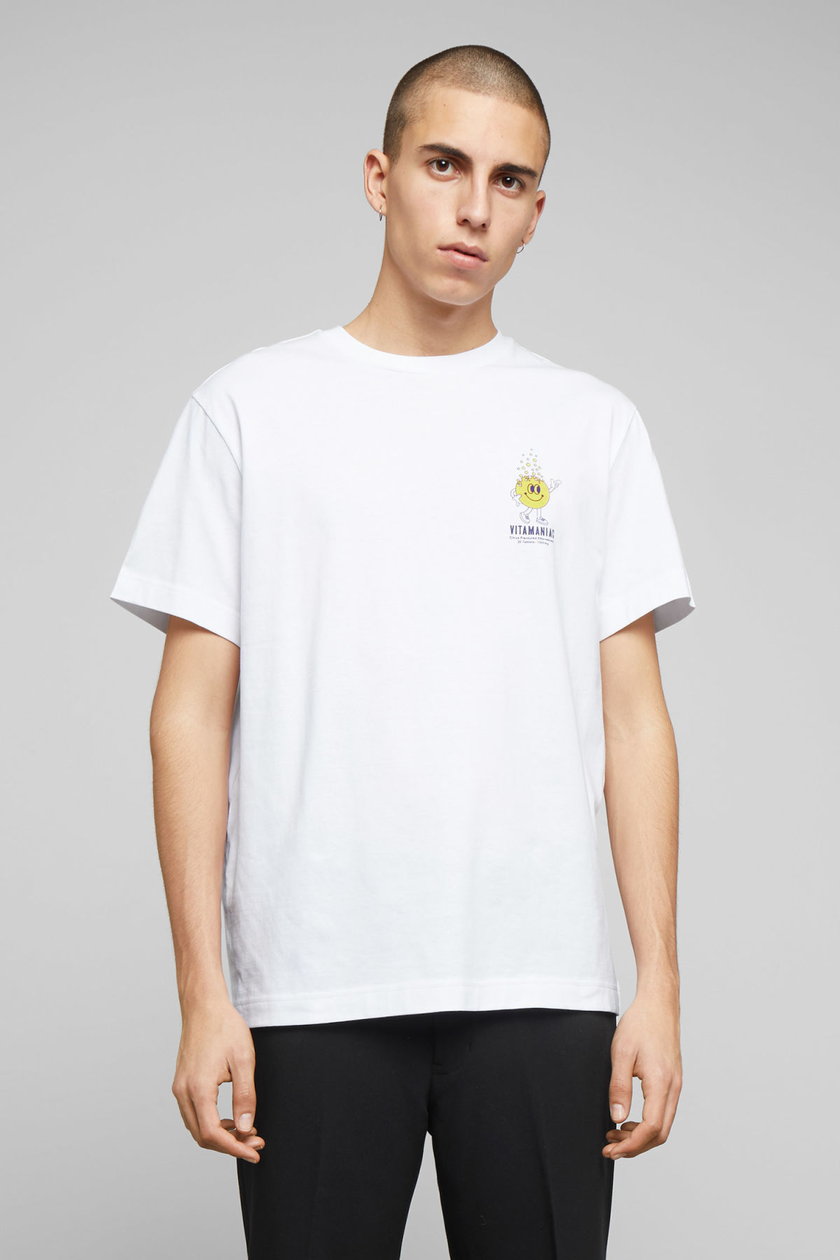 Model front image of Weekday billy vitamin c t-shirt  in white