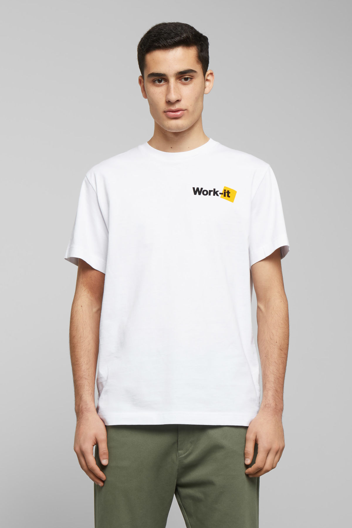 Model front image of Weekday billy work it t-shirt in white