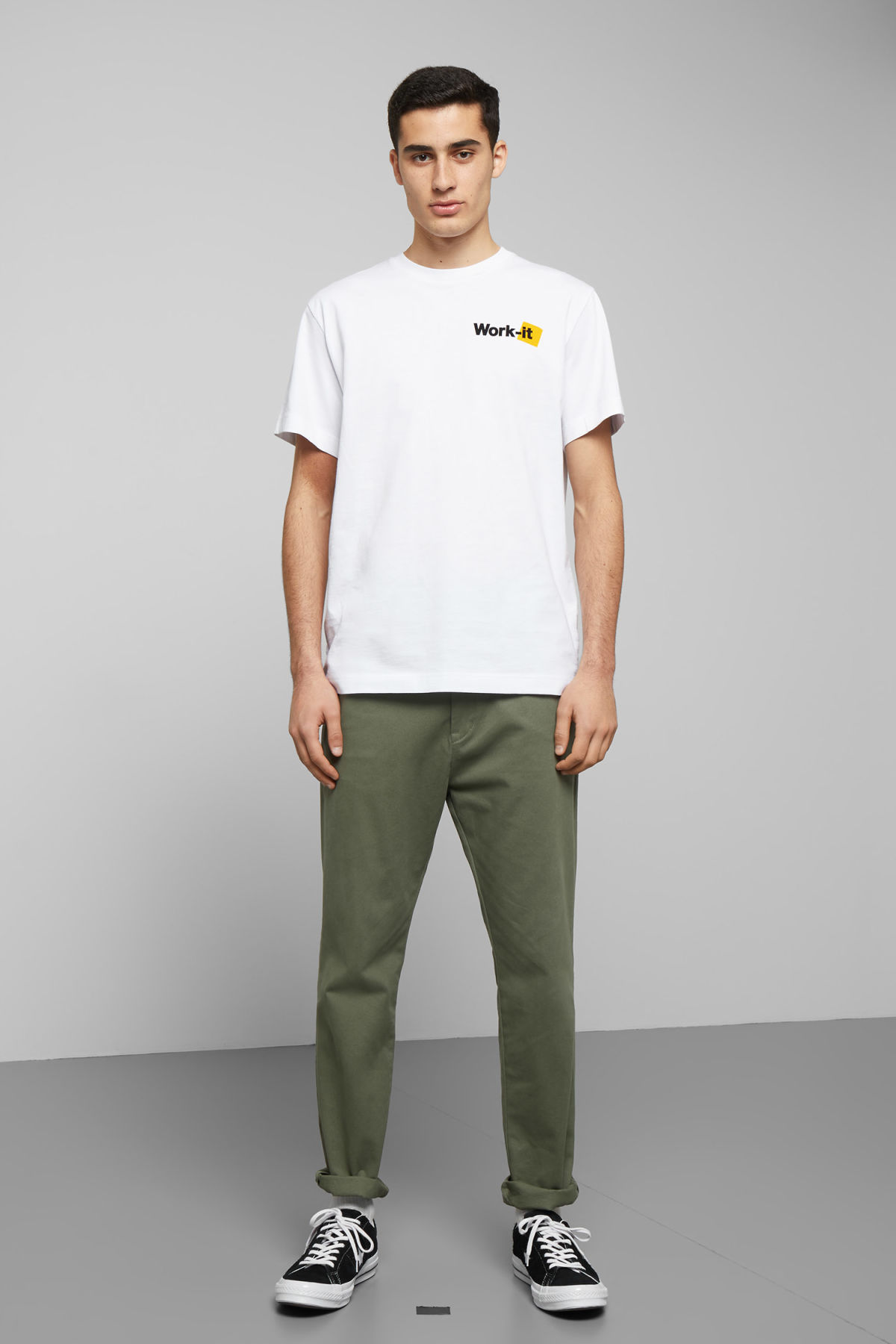 Model side image of Weekday billy work it t-shirt in white