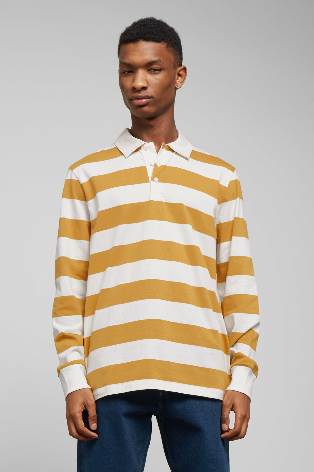 Model front image of Weekday elmer striped polo in yellow