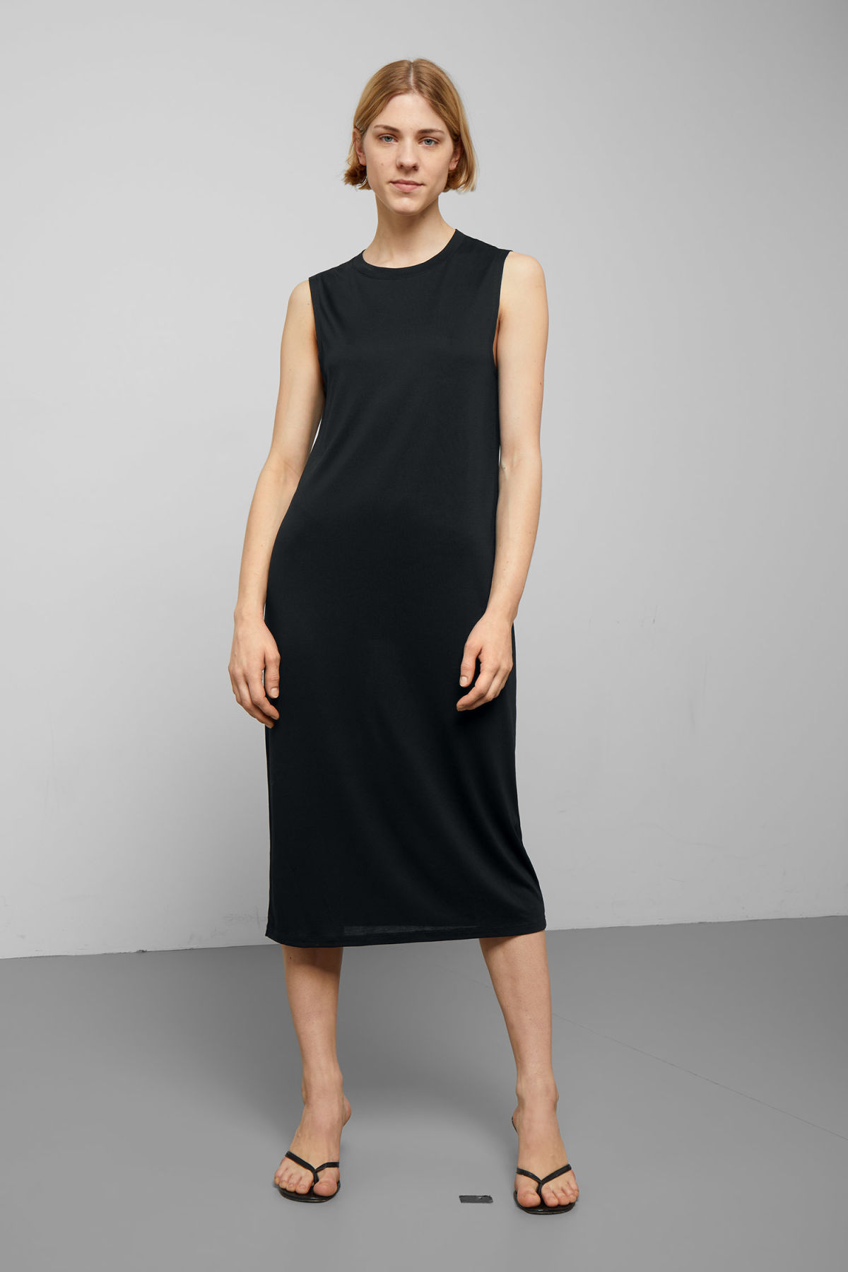 Model front image of Weekday beyond sleeveless dress  in black