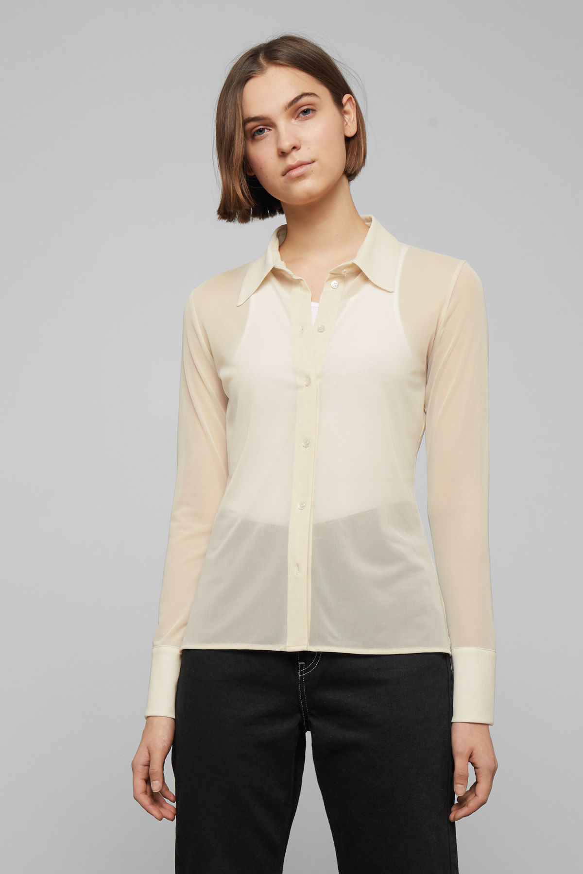 Model front image of Weekday giselle sheer shirt  in beige
