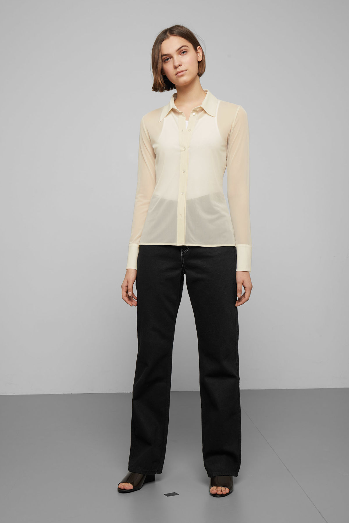 Model side image of Weekday giselle sheer shirt  in beige