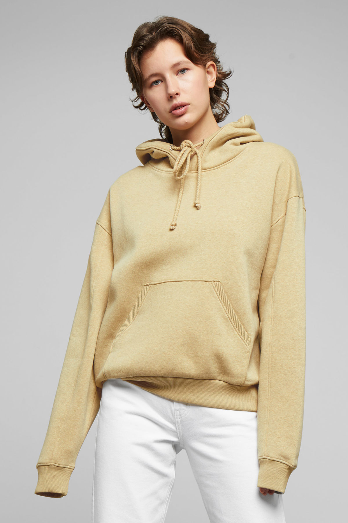Model front image of Weekday ailin hooded sweatshirt in beige