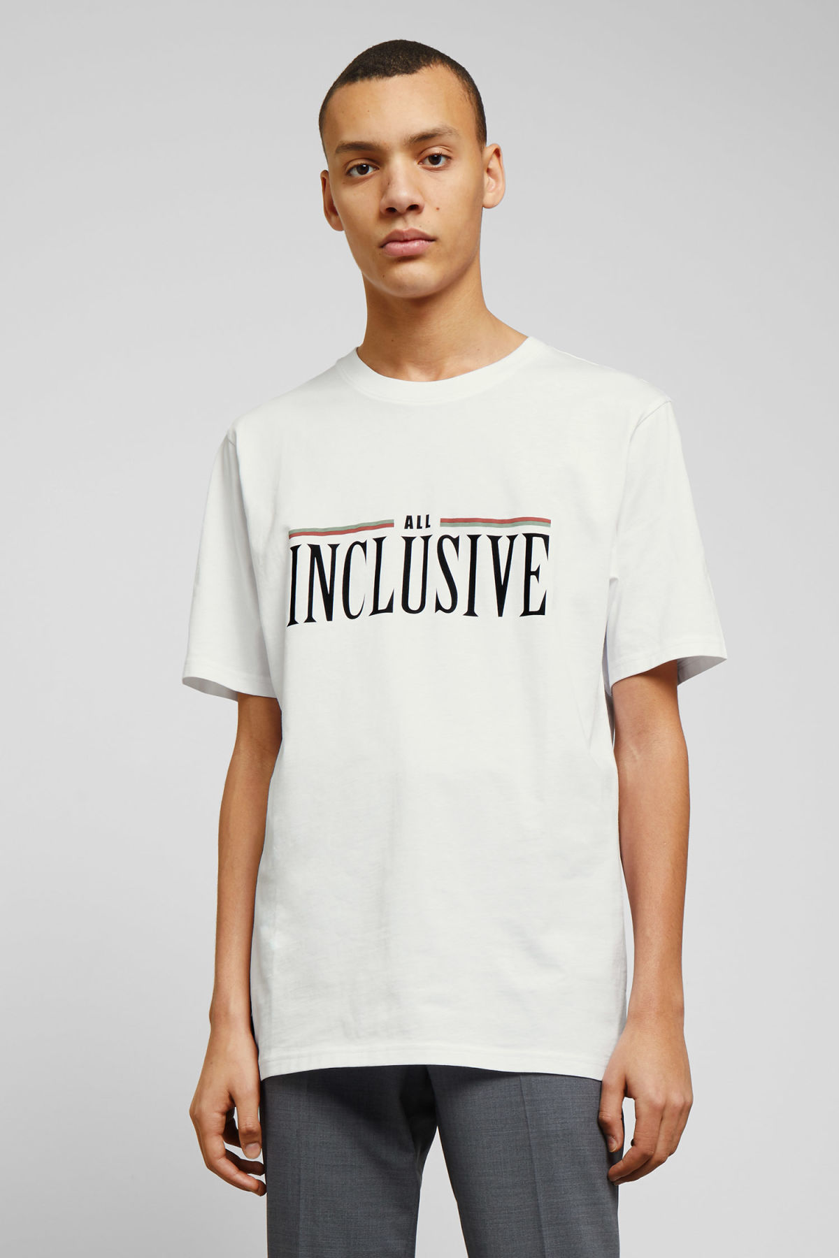 Model front image of Weekday frank all inclusive t-shirt in white