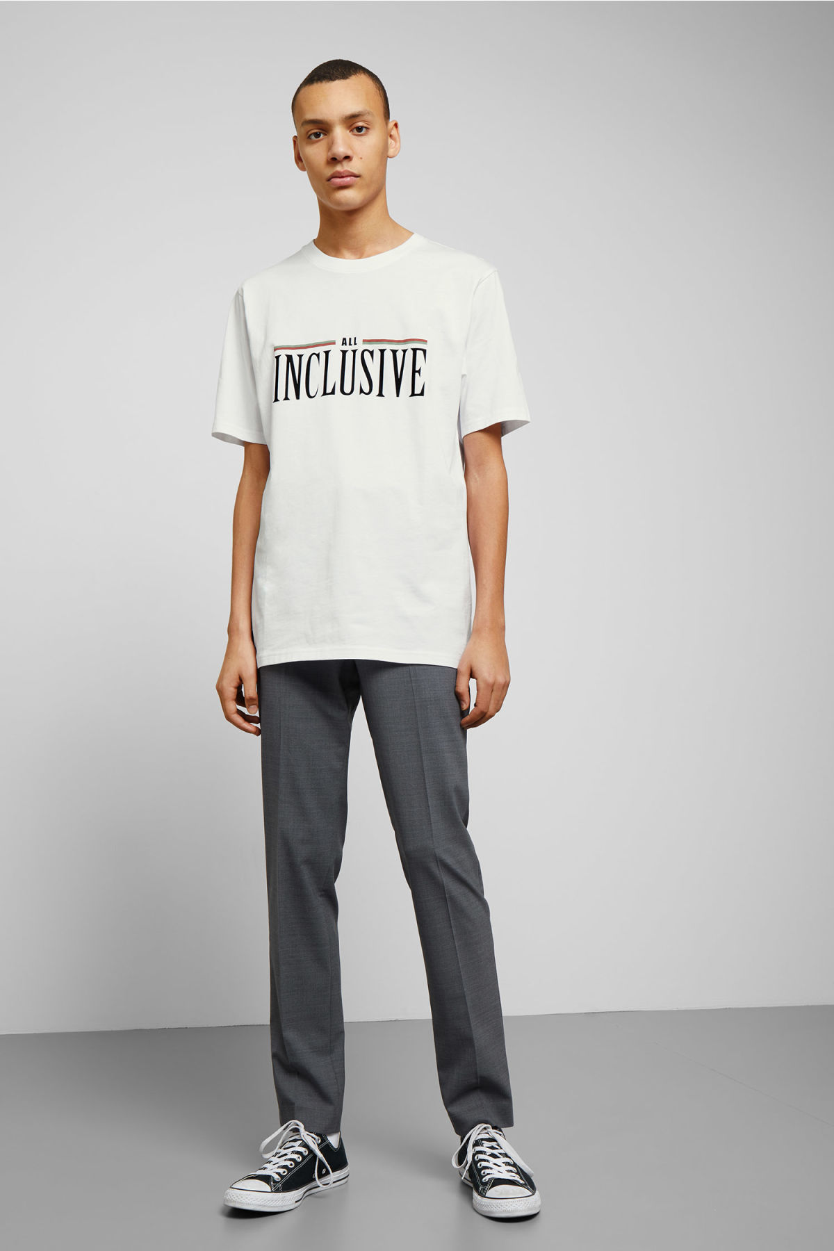 Model side image of Weekday frank all inclusive t-shirt in white