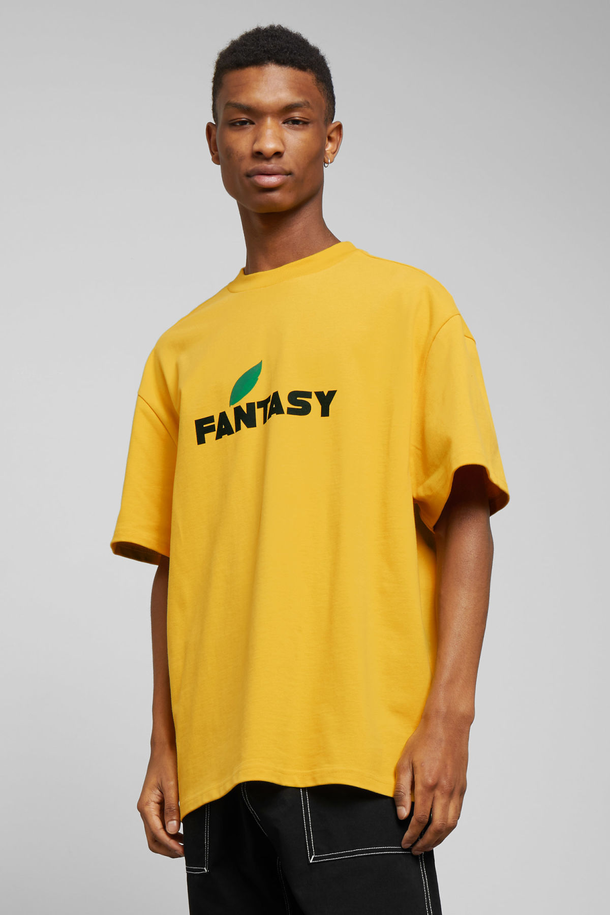 Model front image of Weekday great fantasy t-shirt in yellow
