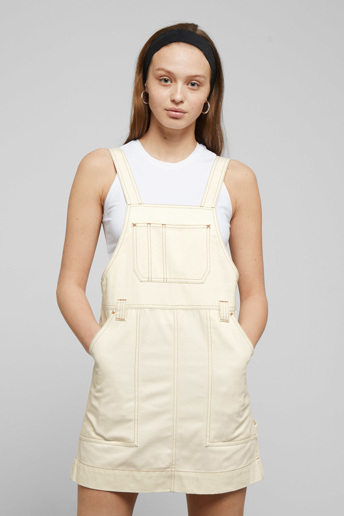 Model front image of Weekday grow workwear dress in white