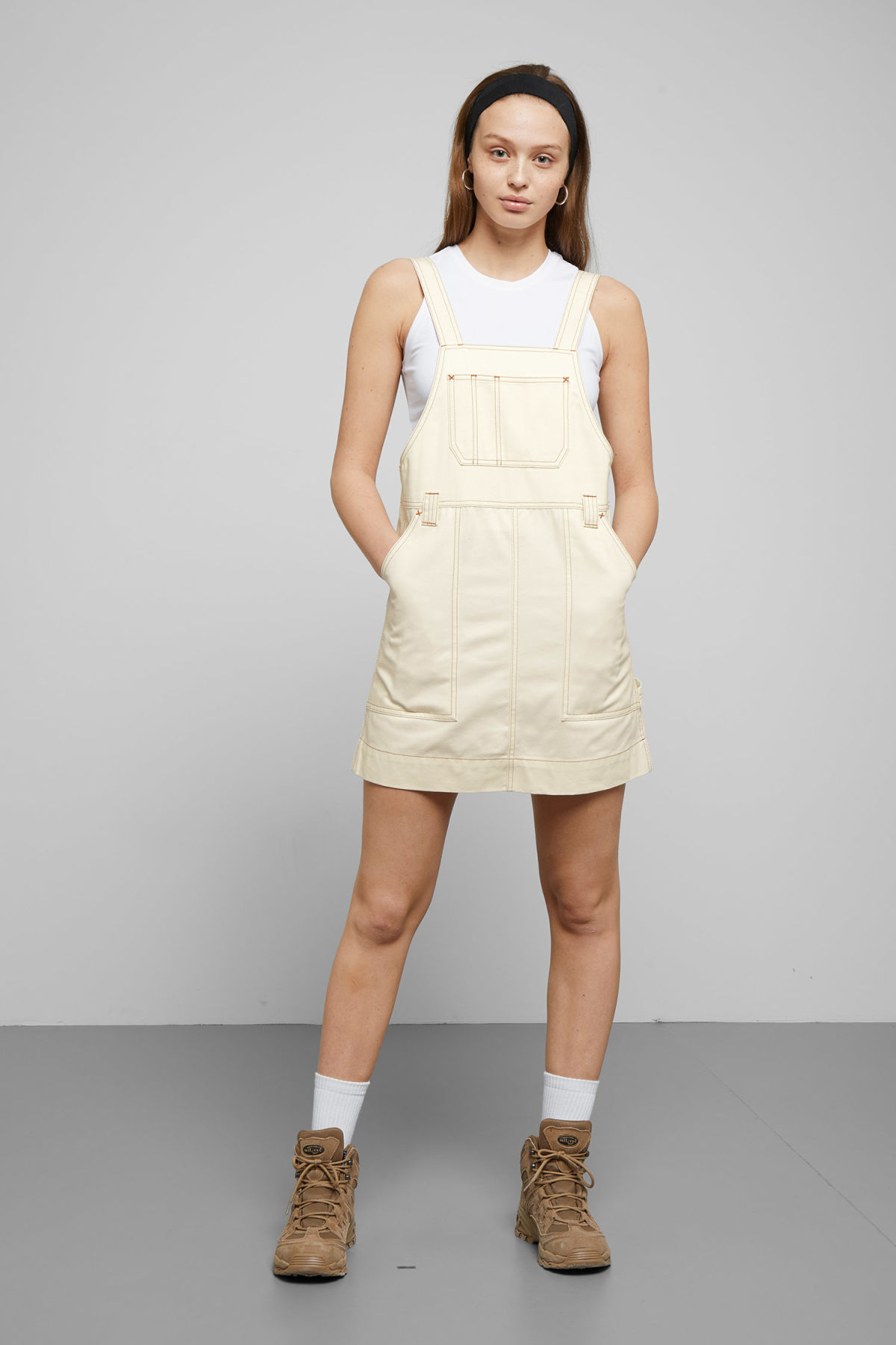 Model side image of Weekday grow workwear dress in white