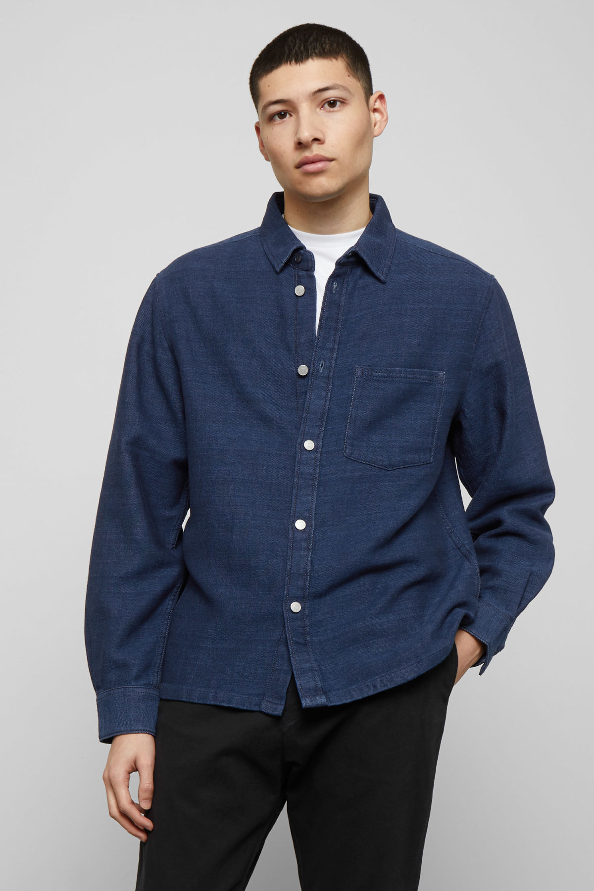 Model front image of Weekday wise wavy blue denim shirt  in blue