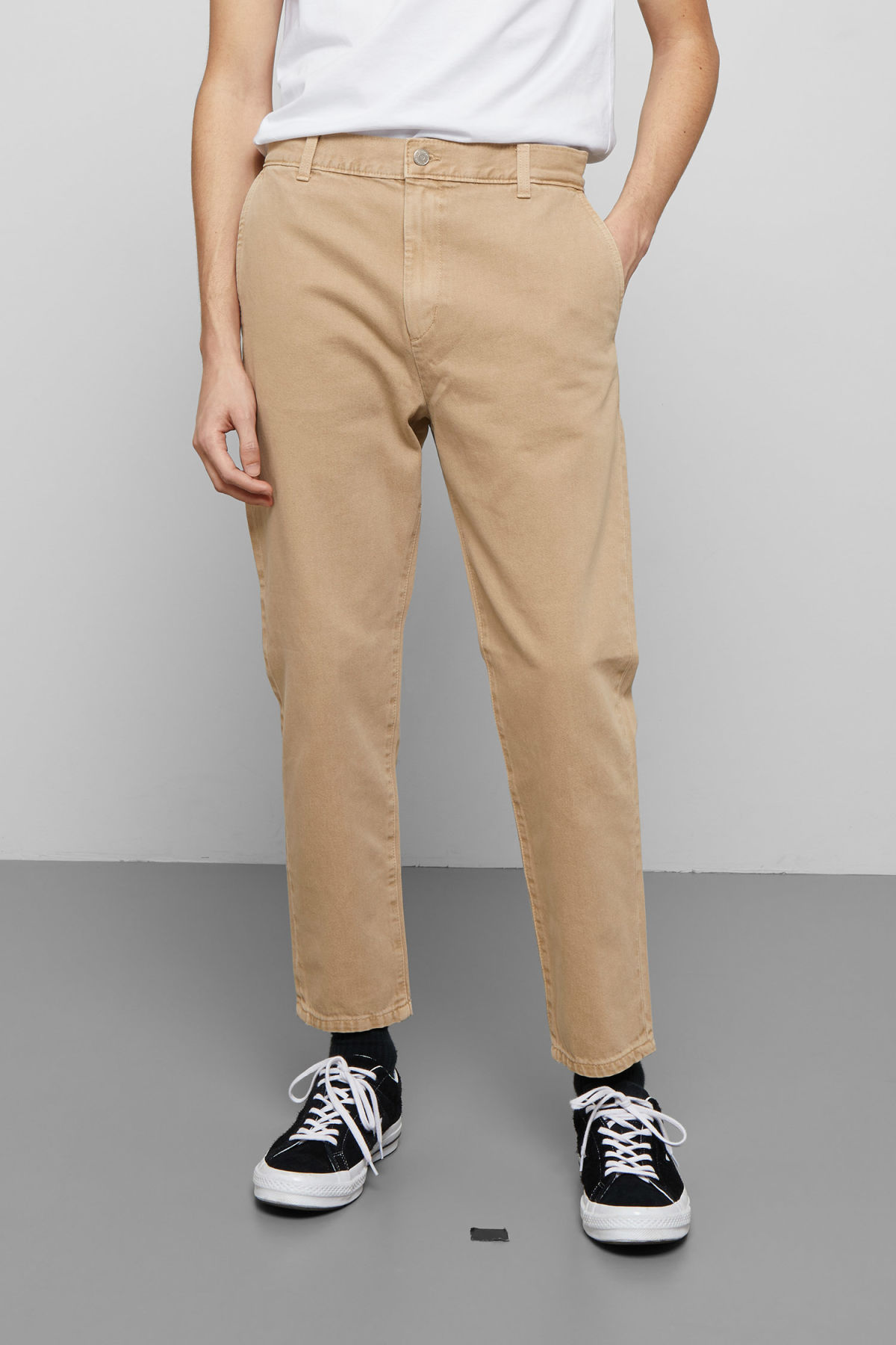 Model back image of Weekday arbus sand denim chinos in beige