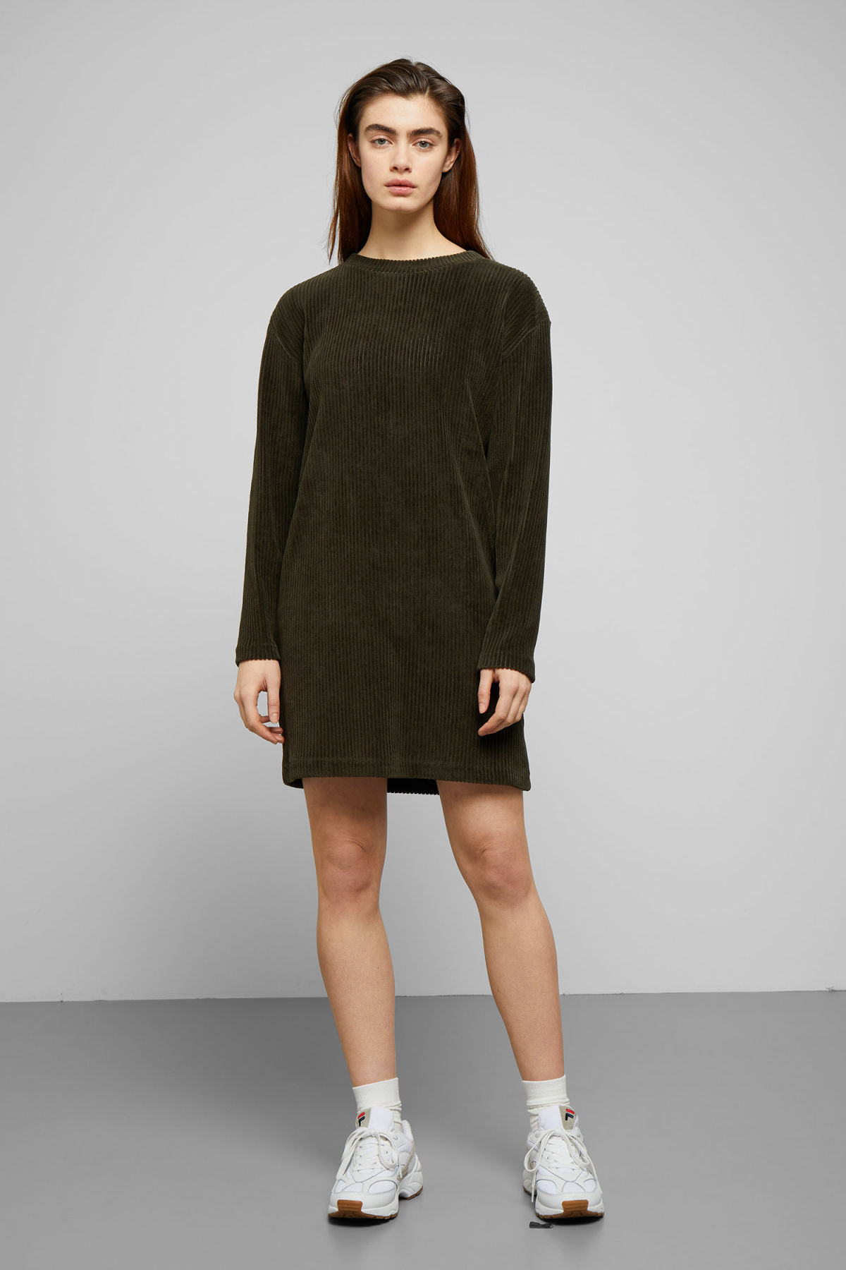 Model front image of Weekday elina dress in green