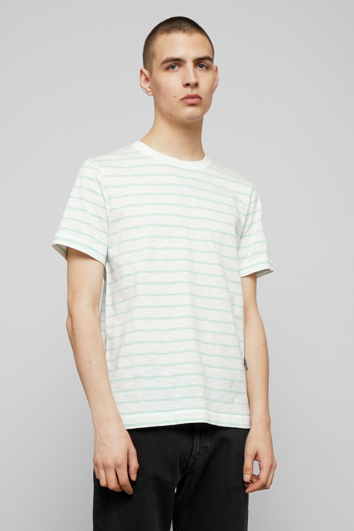 Model front image of Weekday jamie stripe t-shirt in turquoise