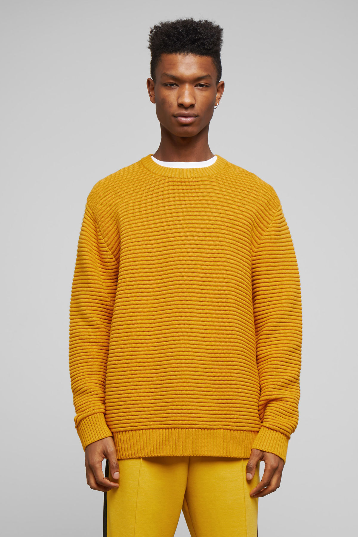 Model front image of Weekday smyth waffle sweater  in yellow