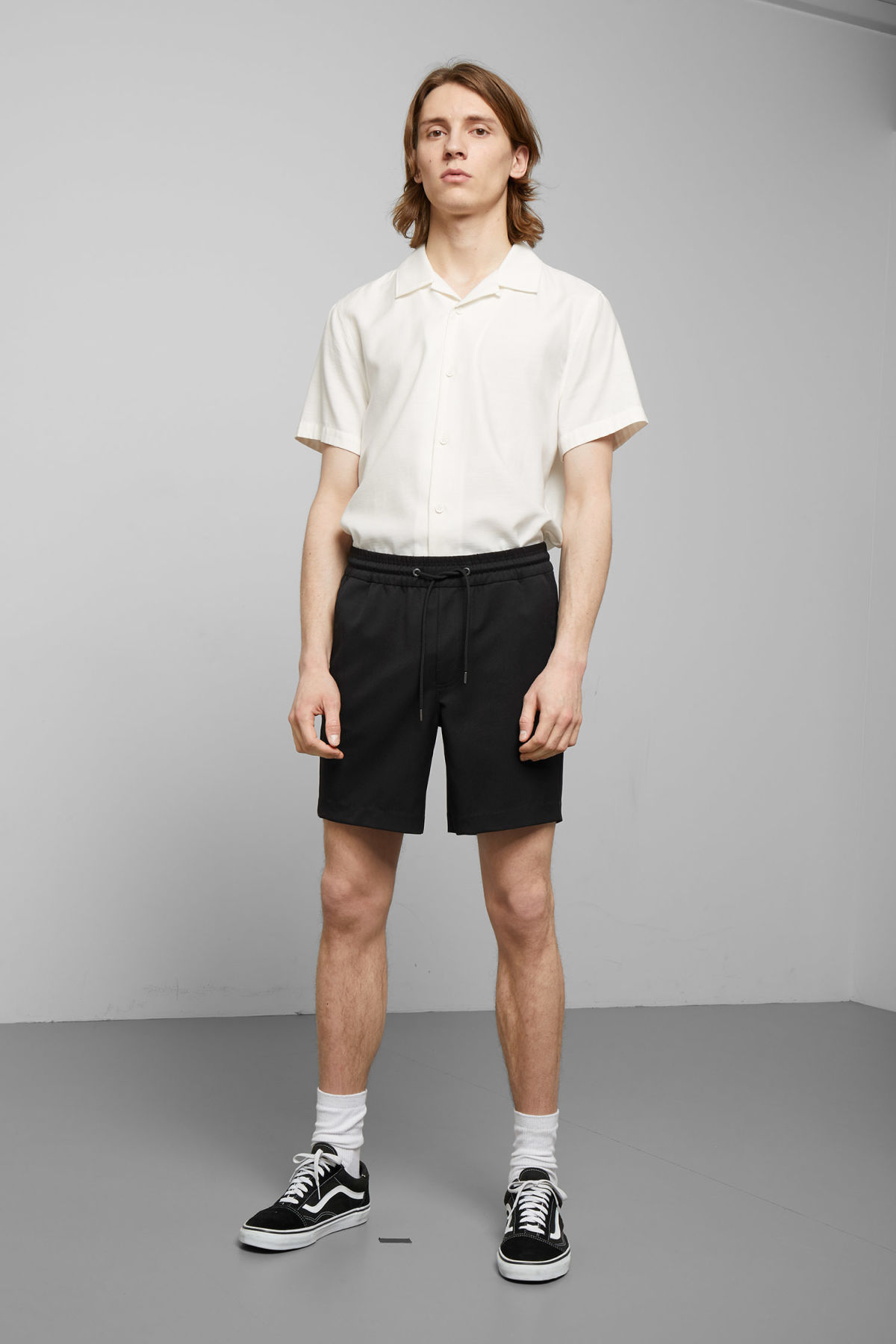 Model front image of Weekday alf shorts  in black