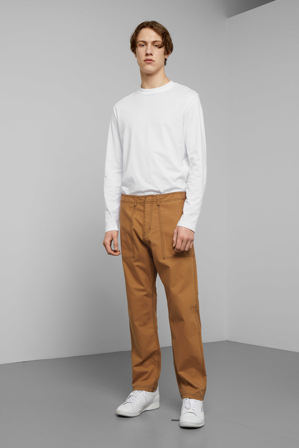 Model front image of Weekday fowler chinos in yellow
