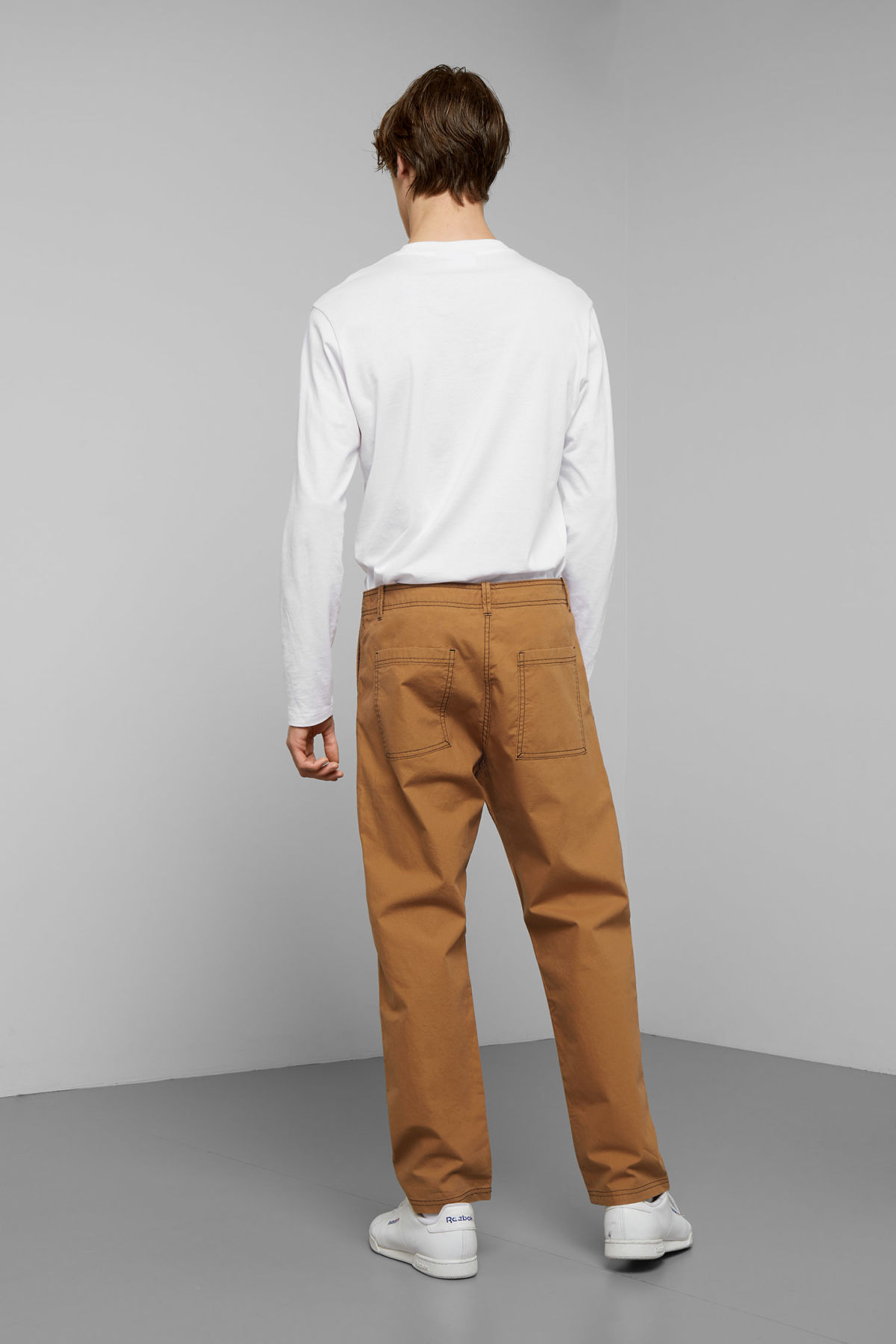 Model back image of Weekday fowler chinos in yellow