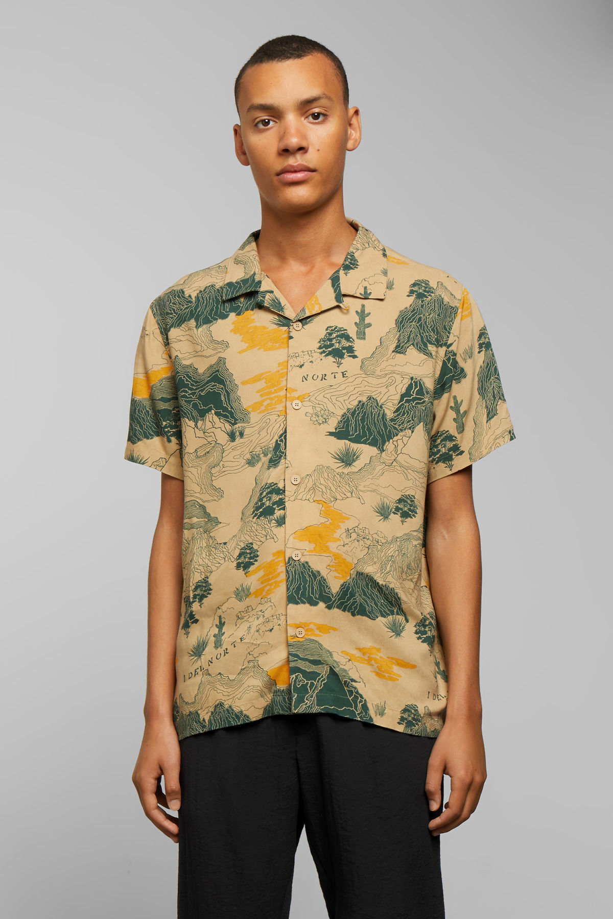 Model front image of Weekday coffee desert map short sleeve shirt in beige