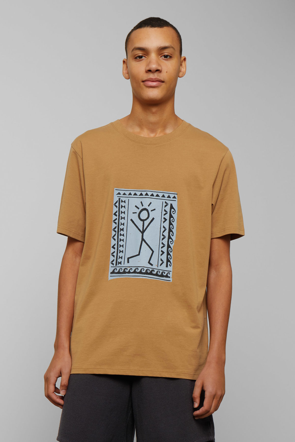 Model front image of Weekday frank human t-shirt in yellow