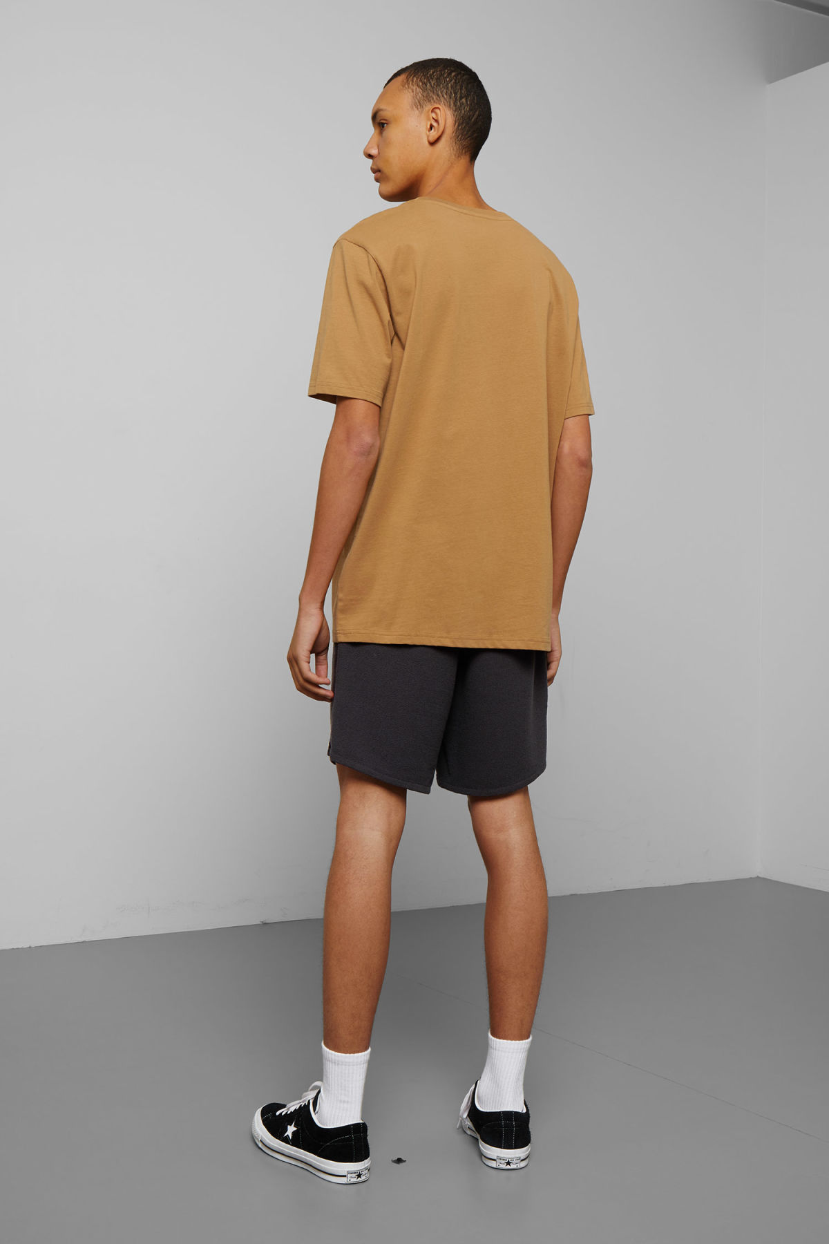 Model back image of Weekday frank human t-shirt in yellow