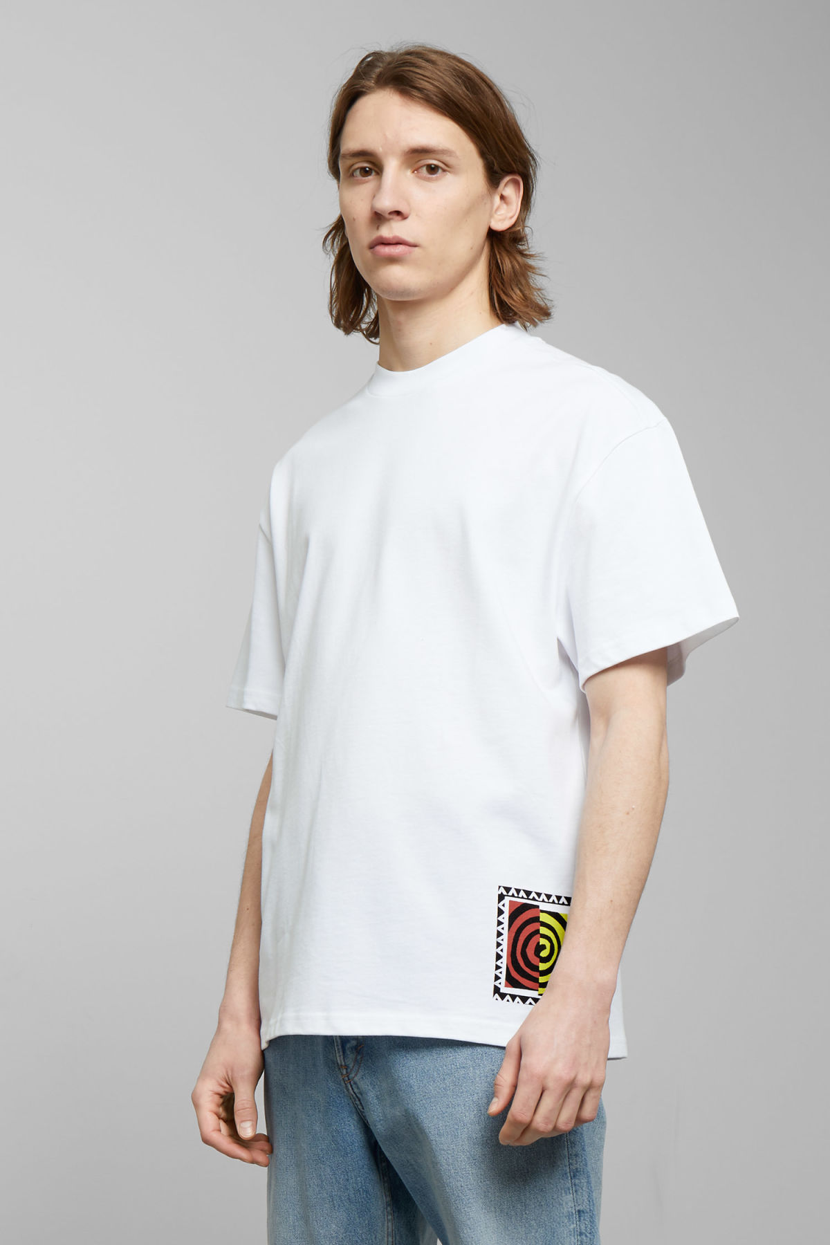 Model front image of Weekday great swirl t-shirt in white