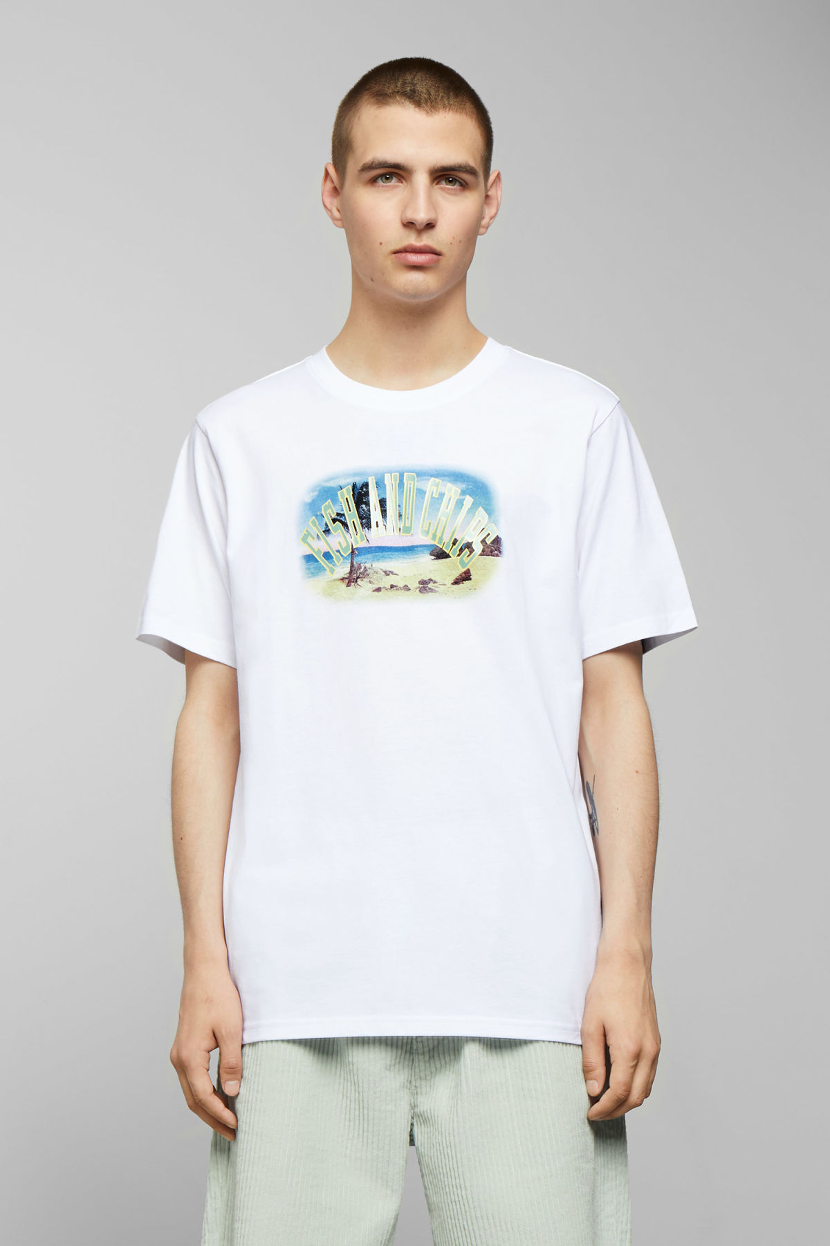 Model front image of Weekday frank fish & chips t-shirt in white