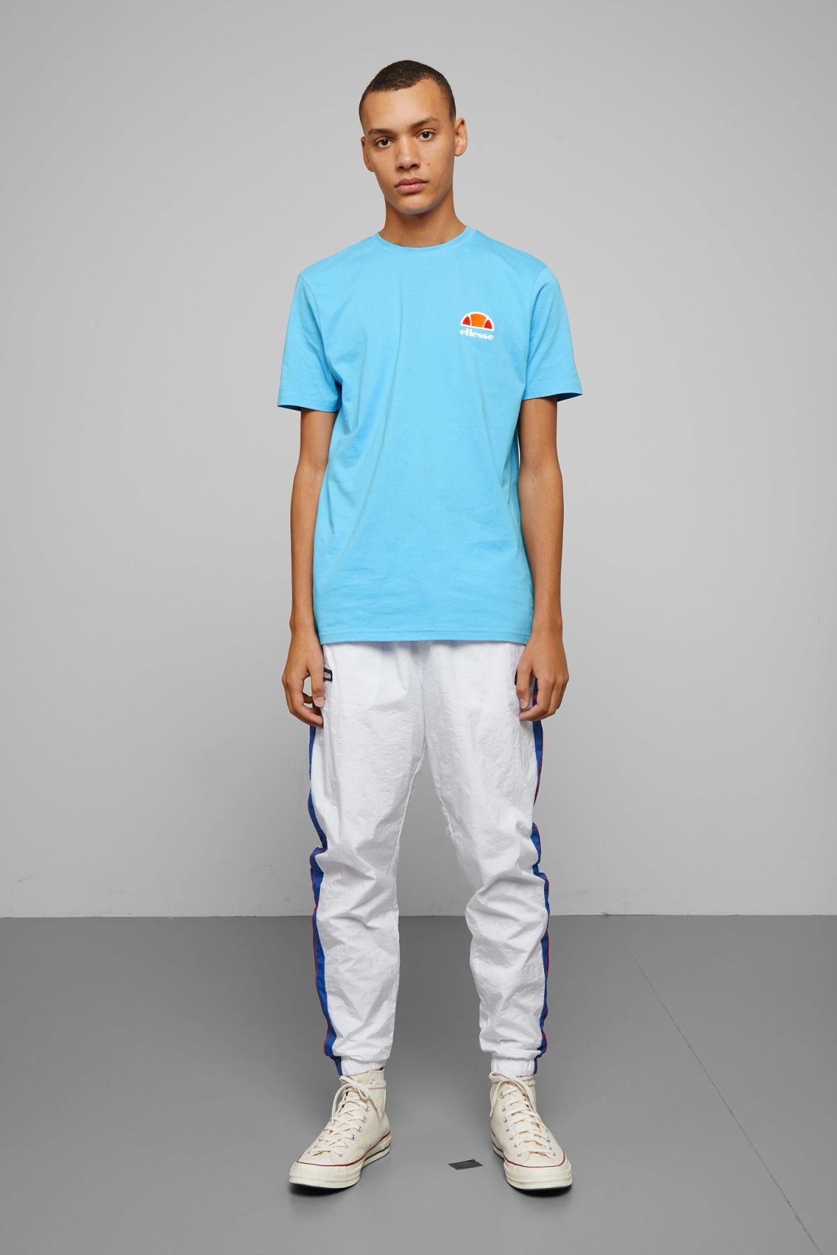 Model side image of Weekday canaletto t-shirt in blue