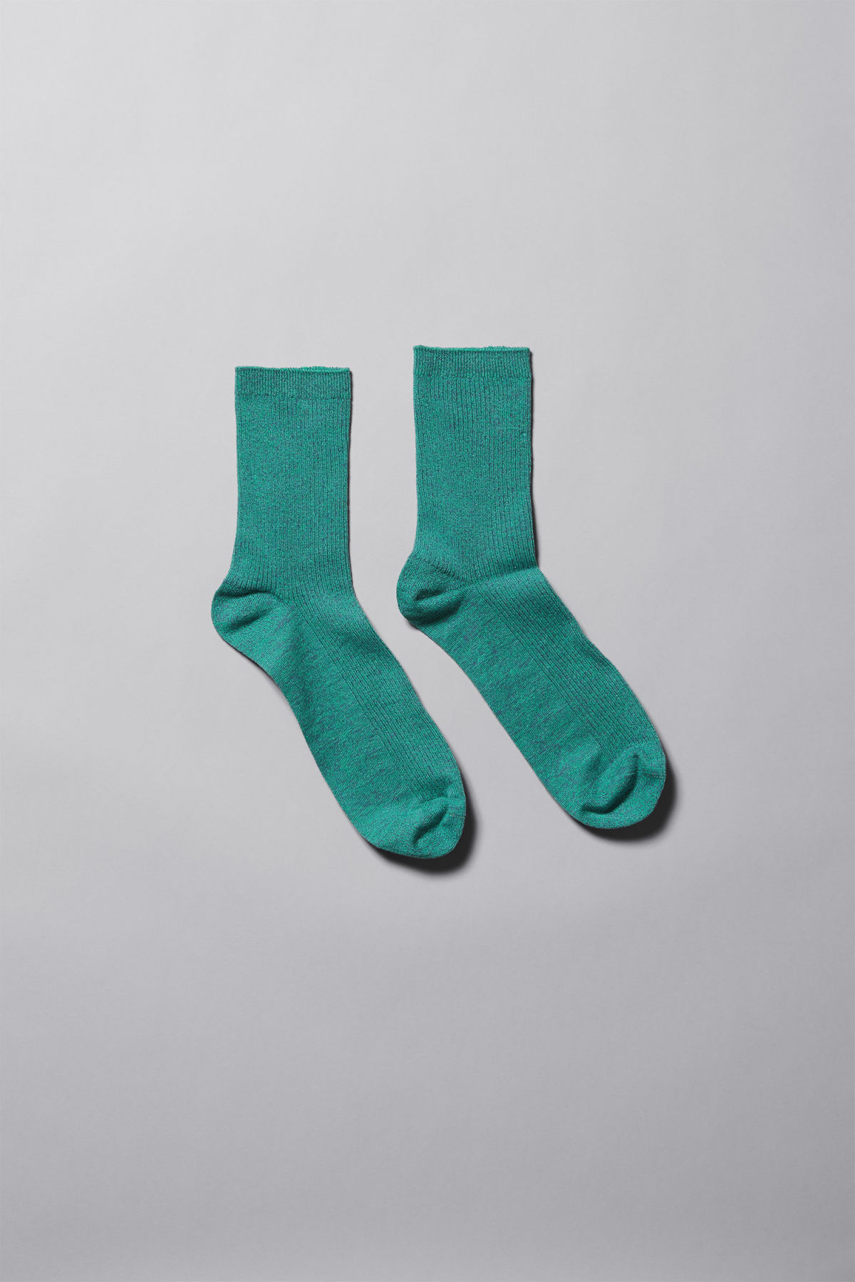Front image of Weekday foot rib socks in blue