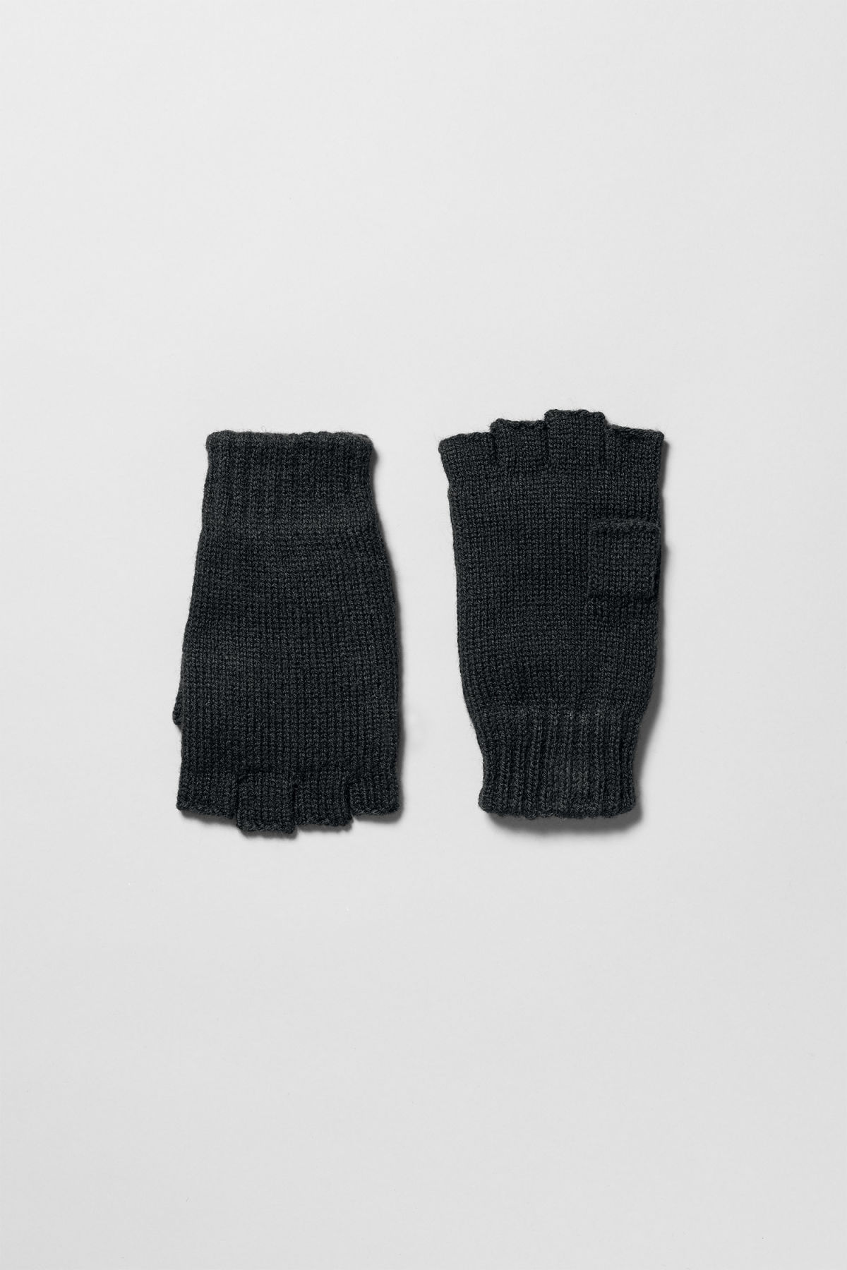 Front image of Weekday wood gloves in black