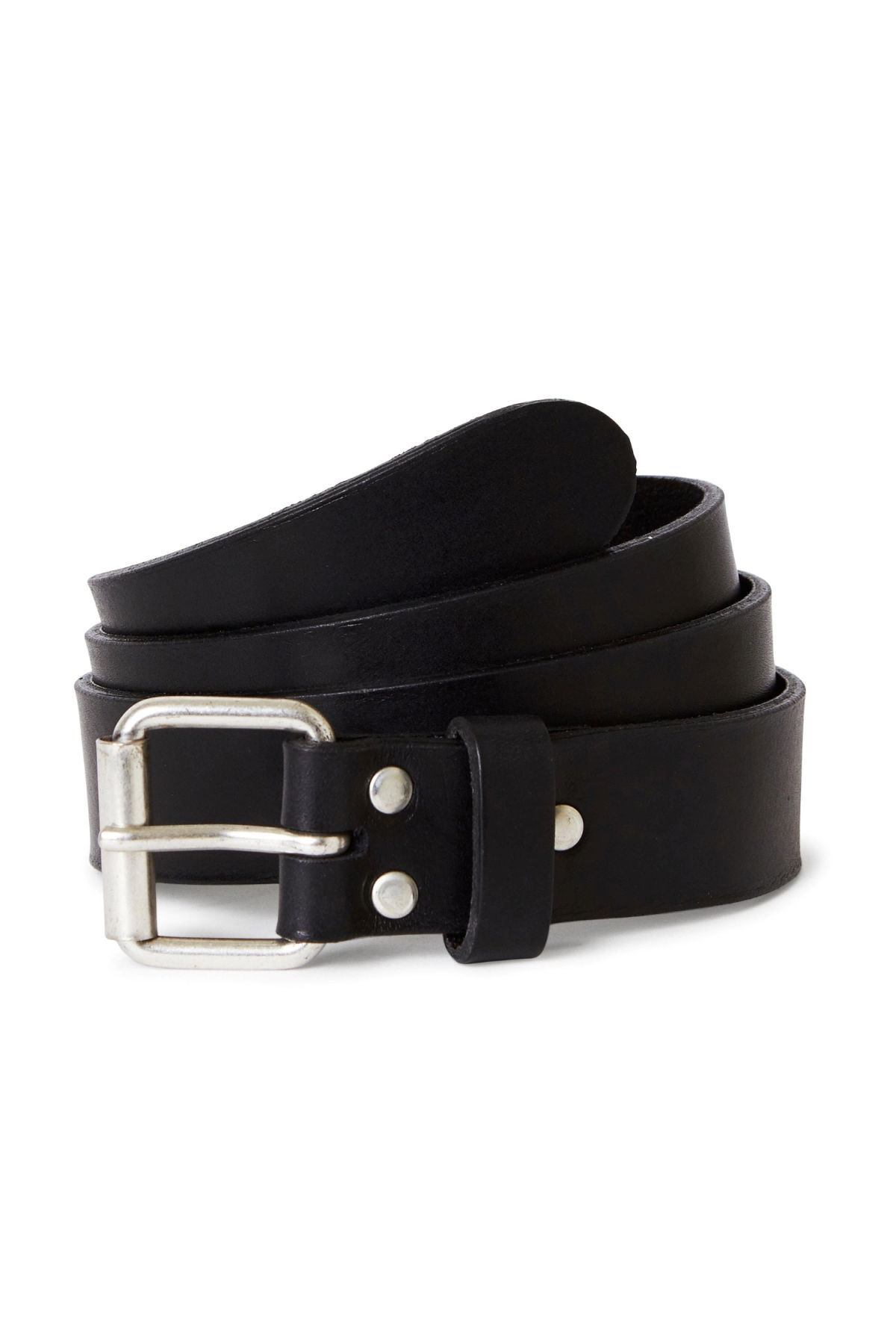 Front image of Weekday perfect leather belt in black