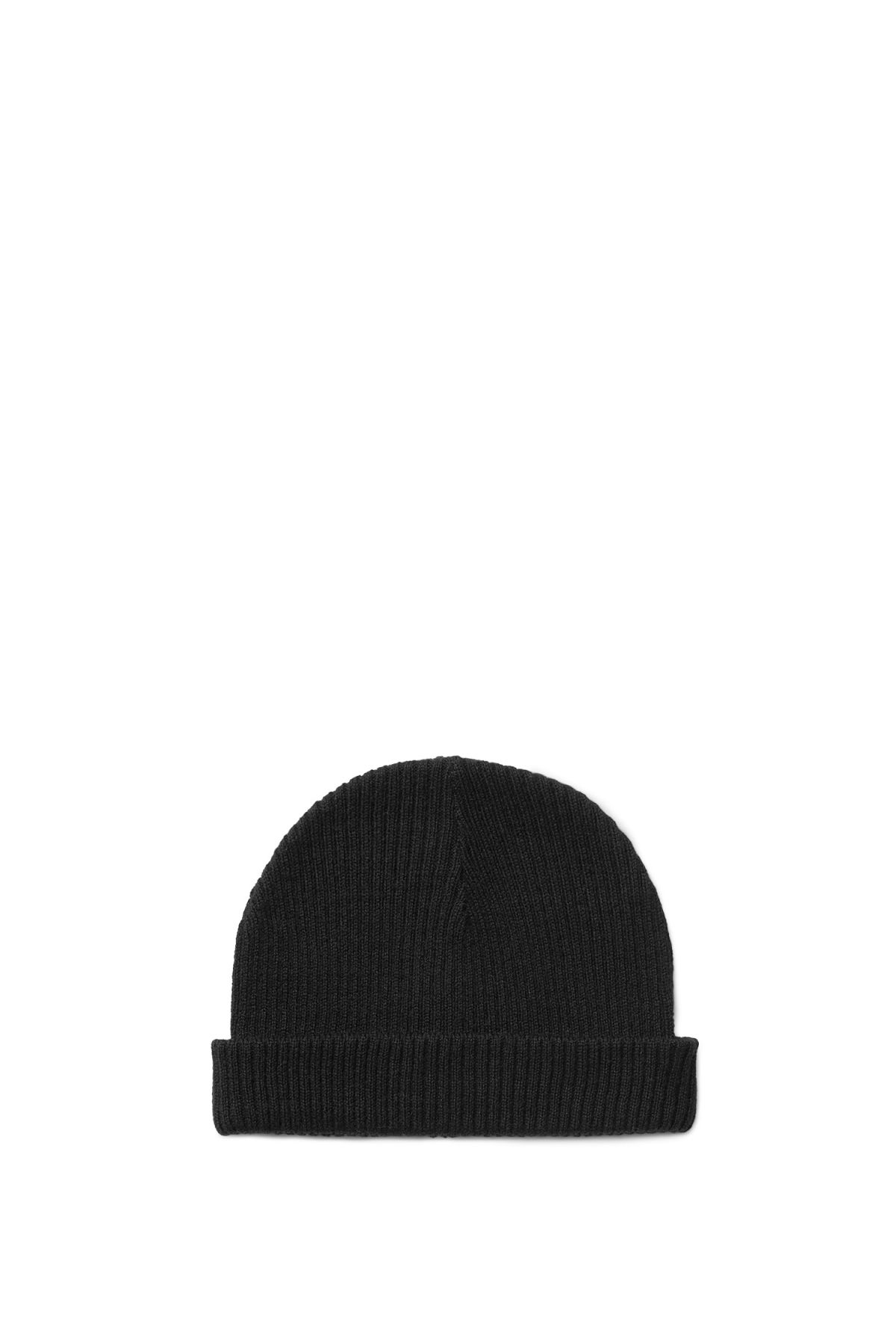 Front image of Weekday steve knitted hat in black