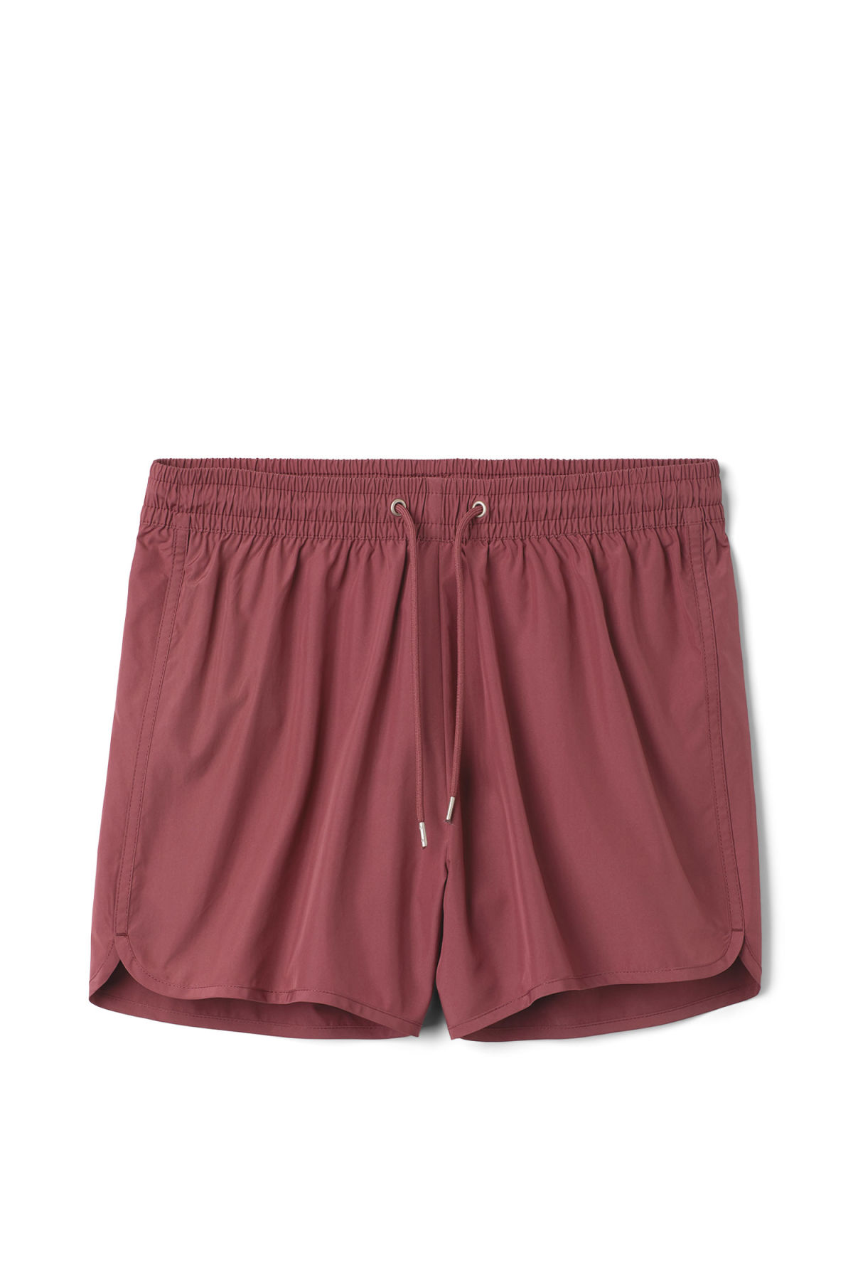 Front image of Weekday tan swim shorts in red
