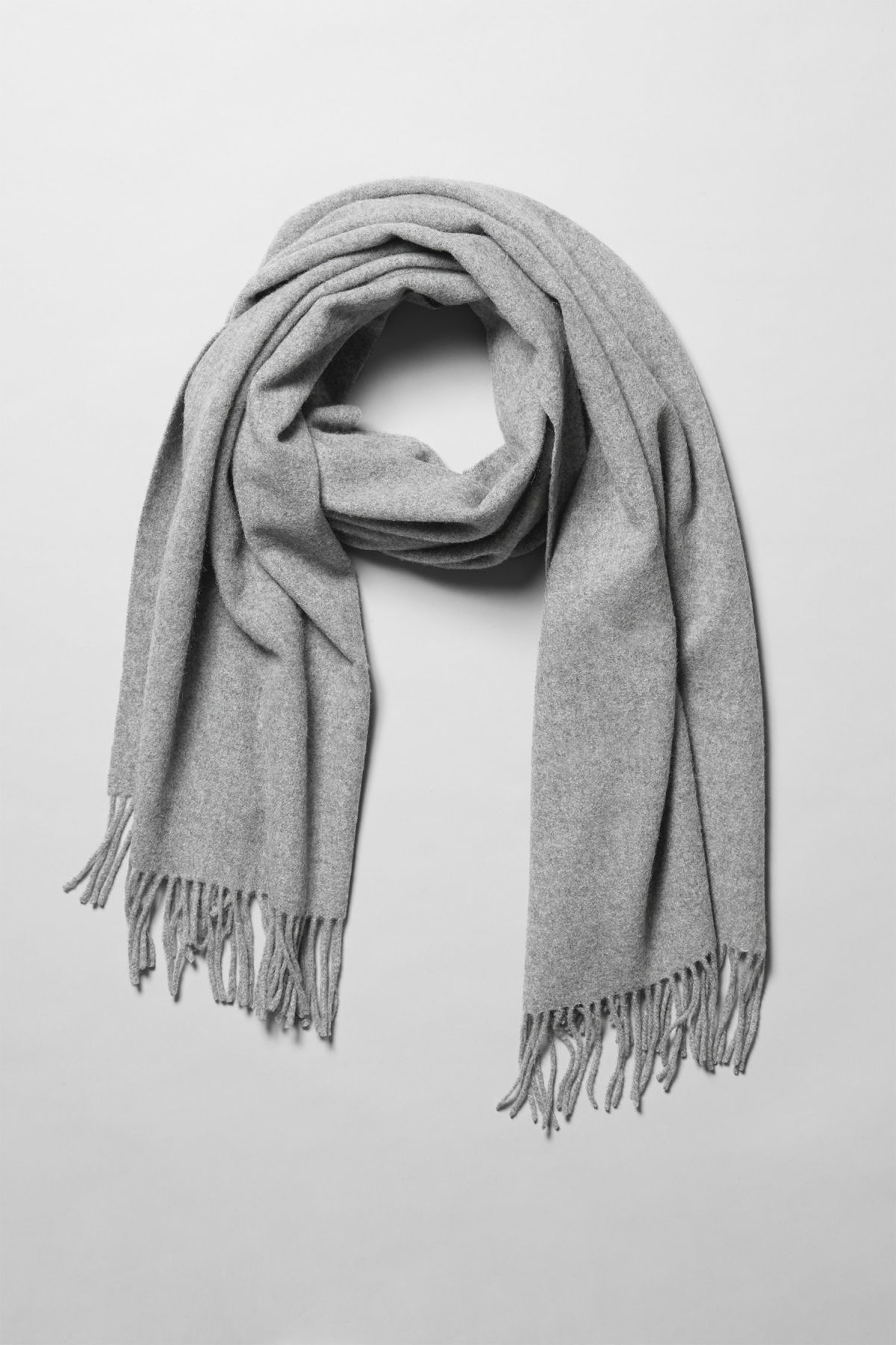 Side image of Weekday tuva shawl in grey