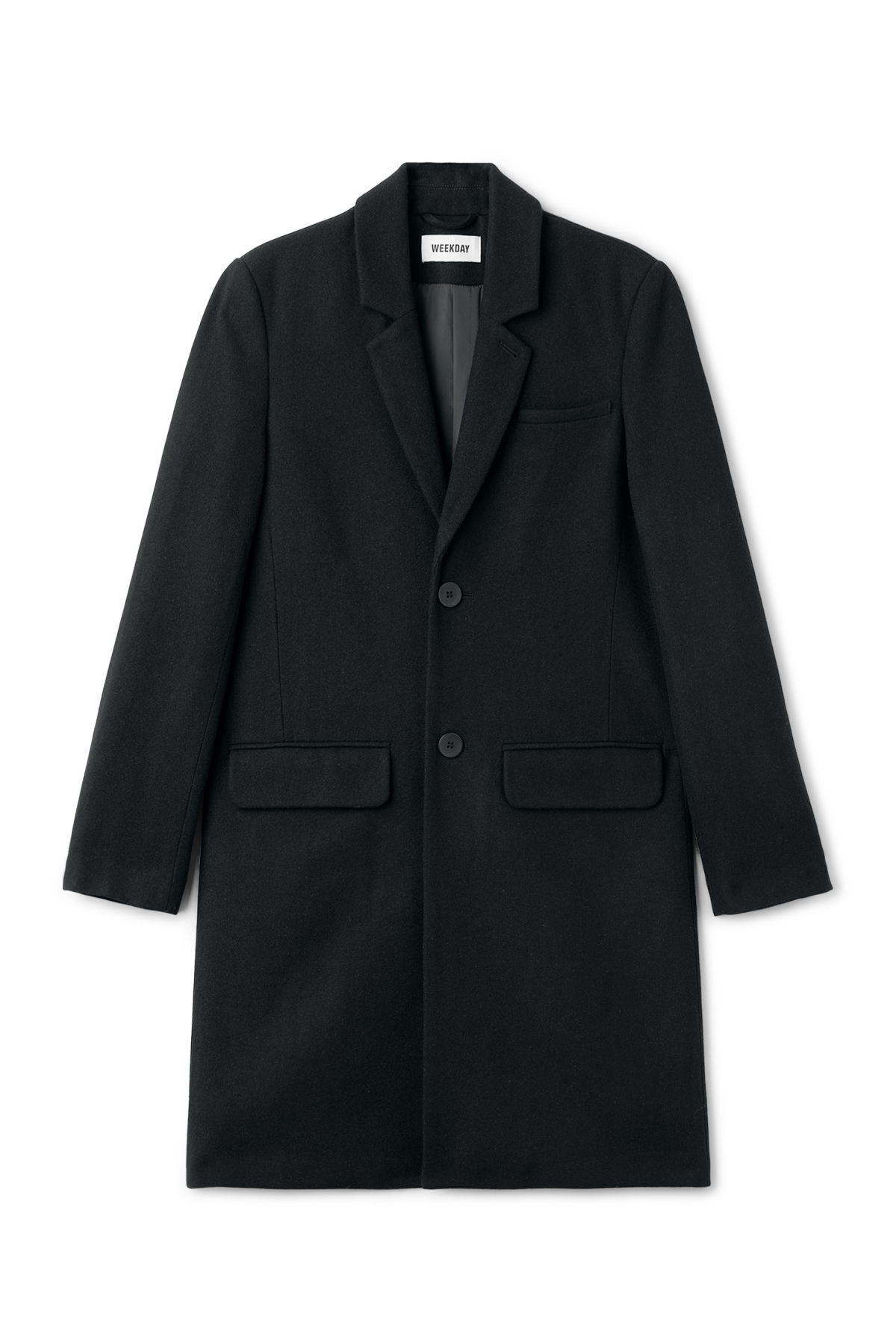 Front image of Weekday spencer coat in black