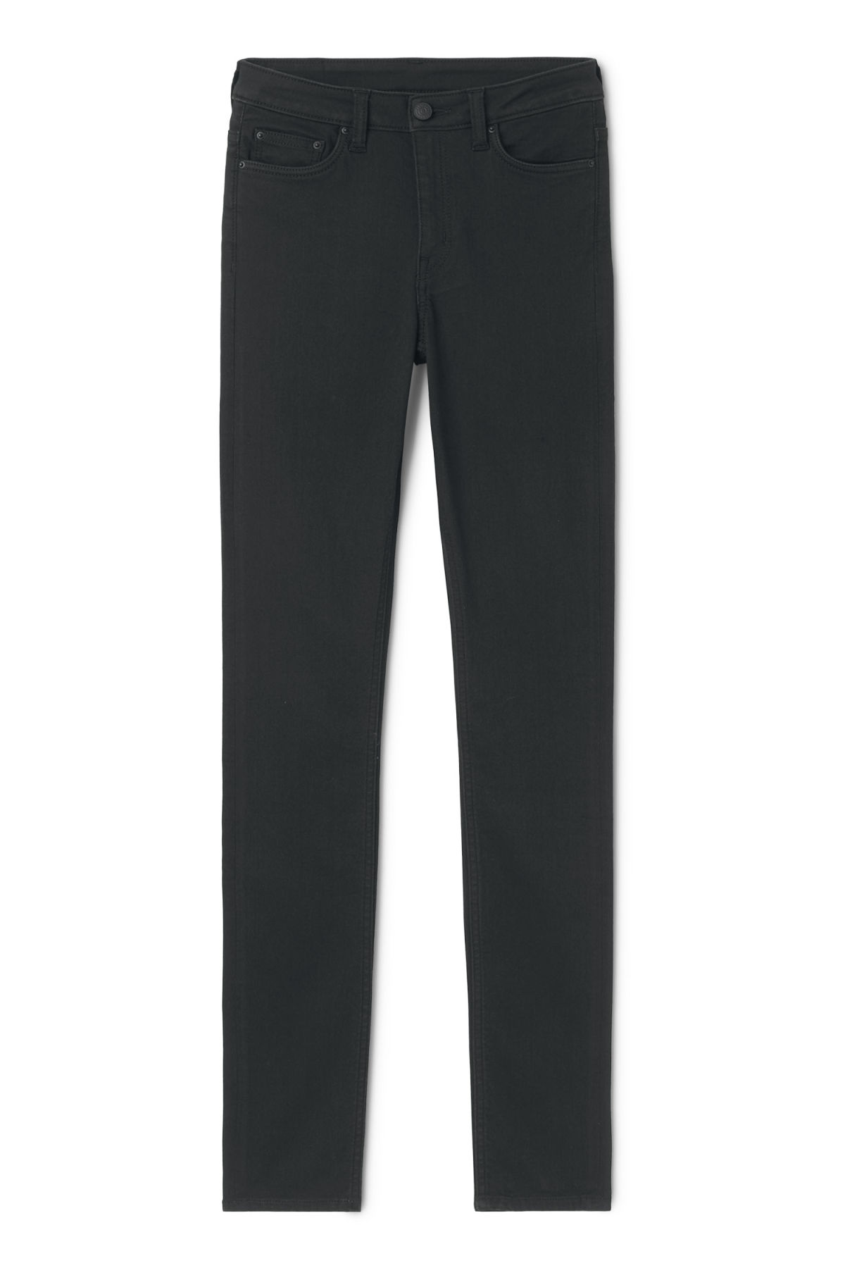 Front image of Weekday body elastic black jeans in black
