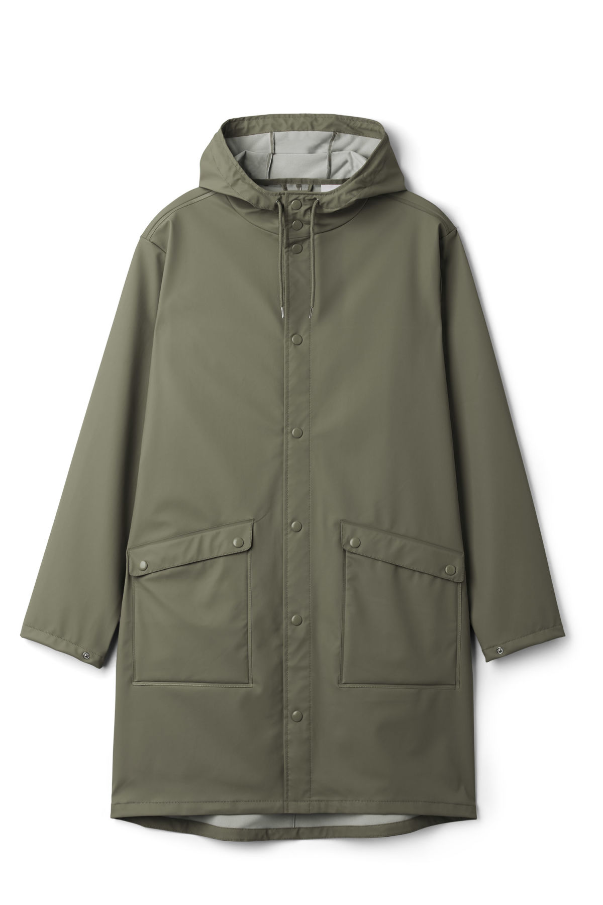 Front image of Weekday sune raincoat in green