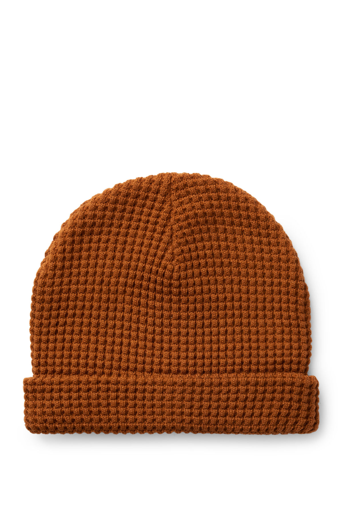 Front image of Weekday trap knitted hat in orange