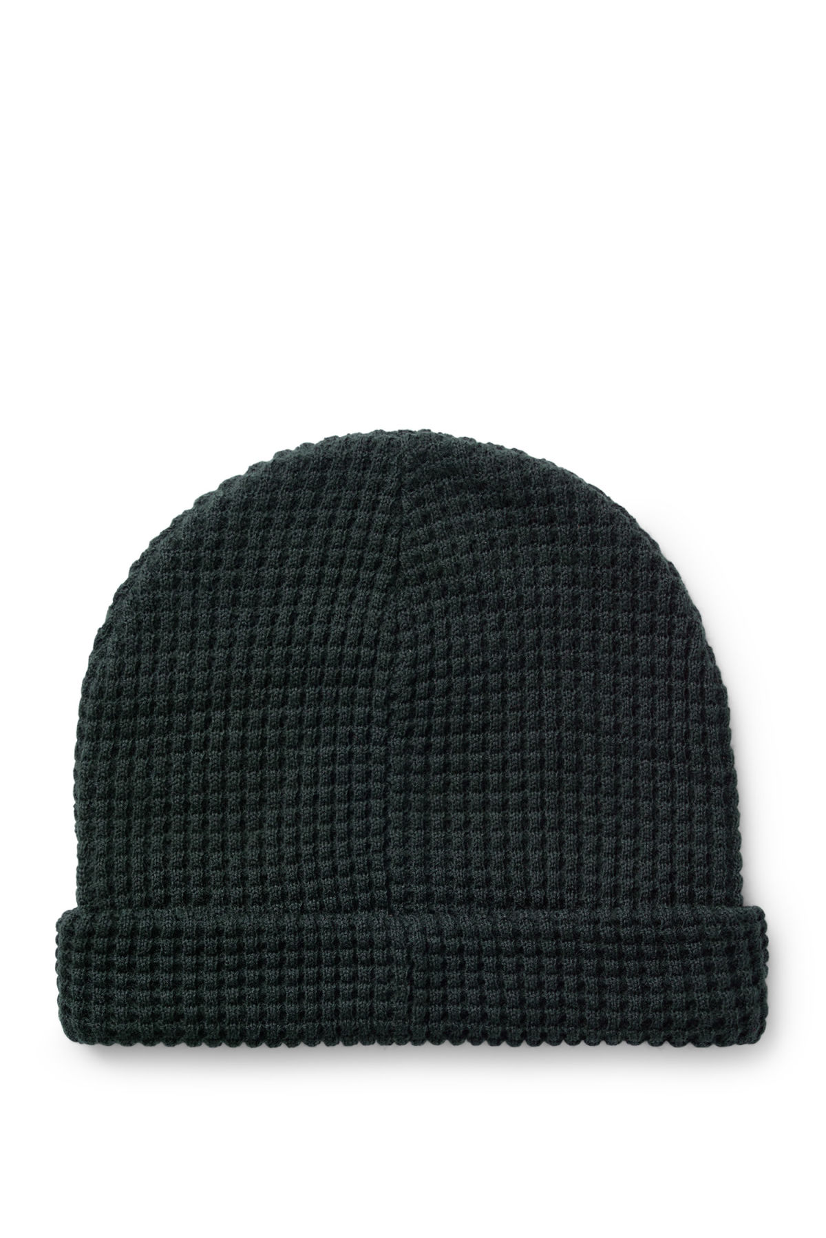 Front image of Weekday trap knitted hat in blue