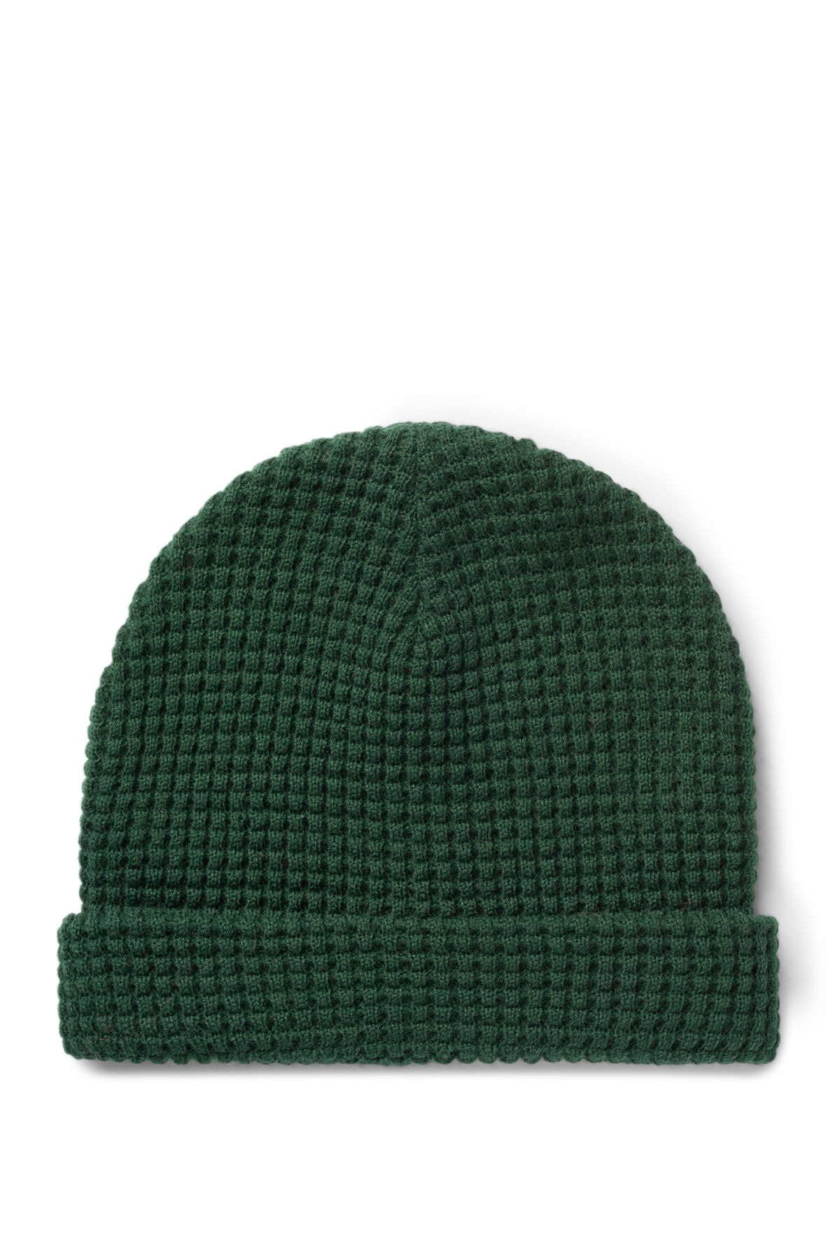 Front image of Weekday trap knitted hat in green