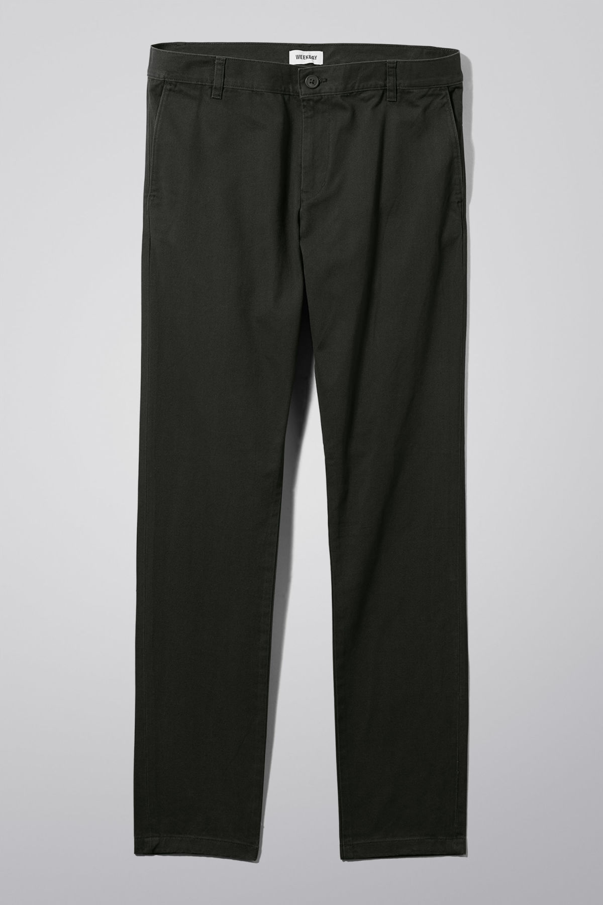 Front image of Weekday wood chinos in black
