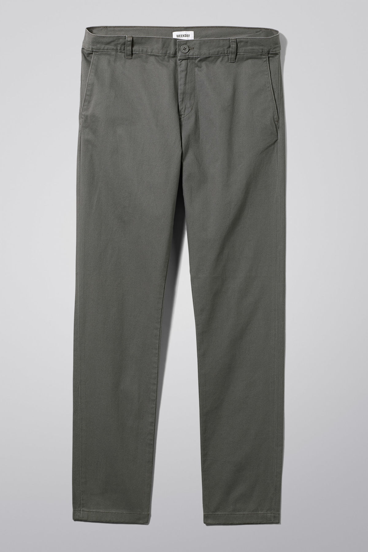 Front image of Weekday wood chinos in grey