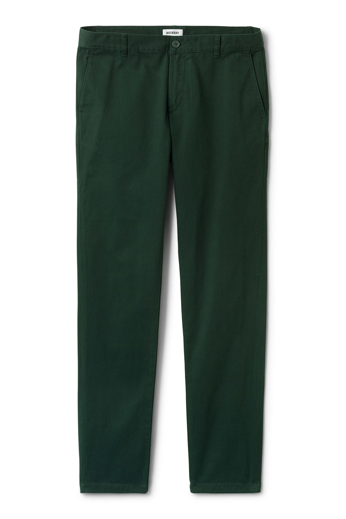 Front image of Weekday wood chinos in green