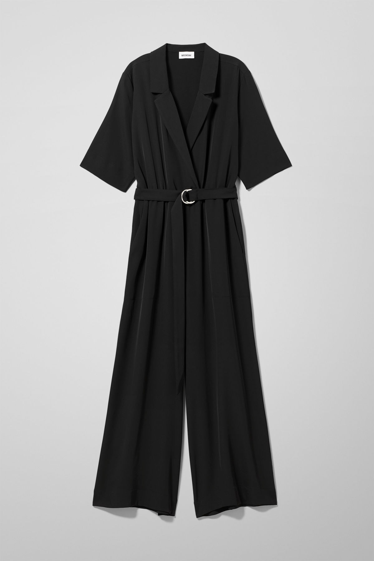 Front image of Weekday jimi short sleeve jumpsuit in black