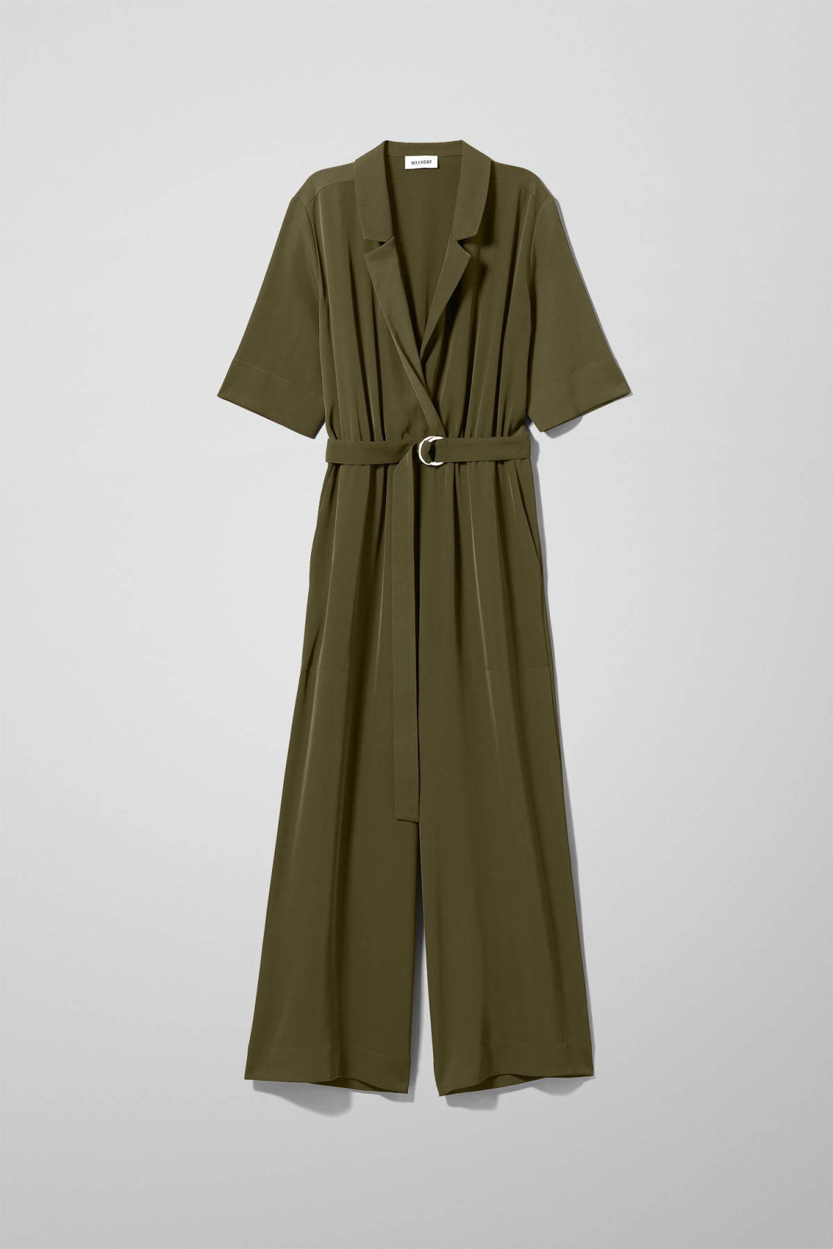 Front image of Weekday jimi short sleeve jumpsuit in green