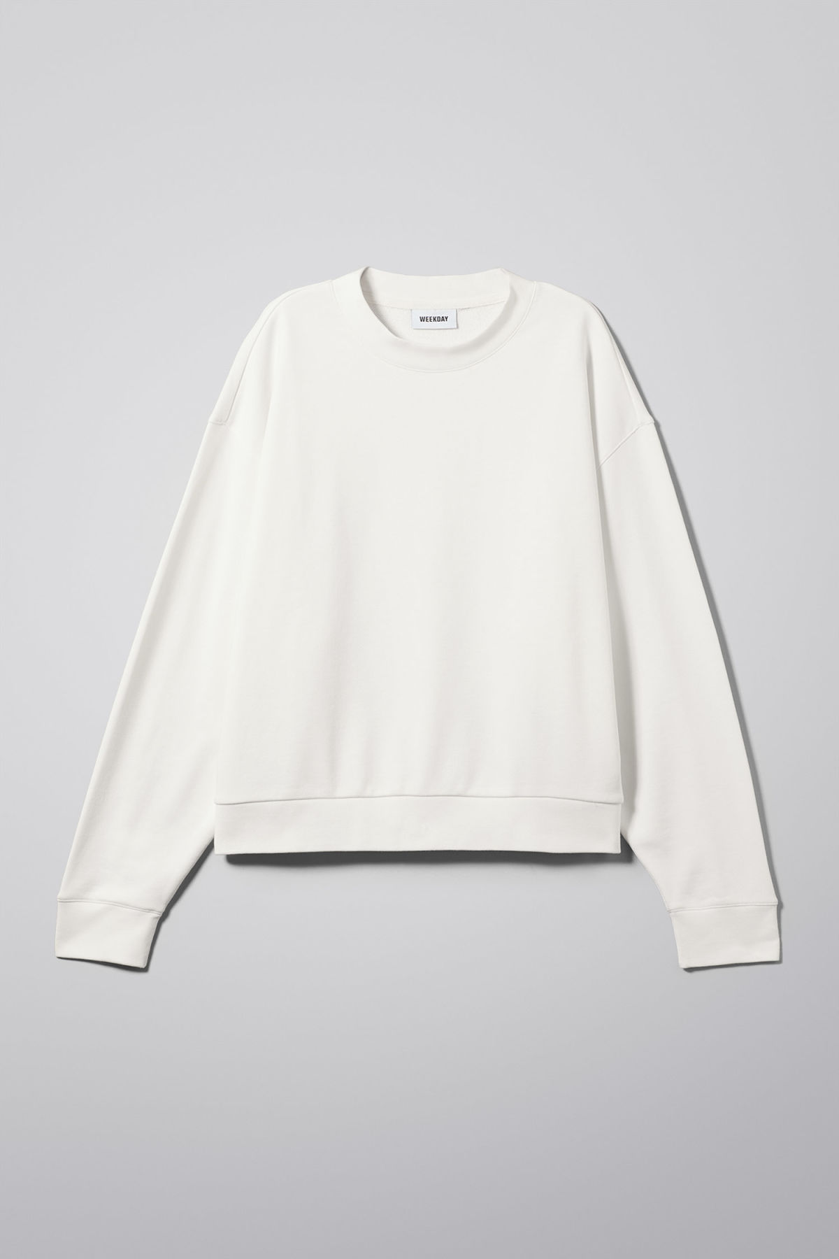 Front image of Weekday huge cropped sweatshirt  in white